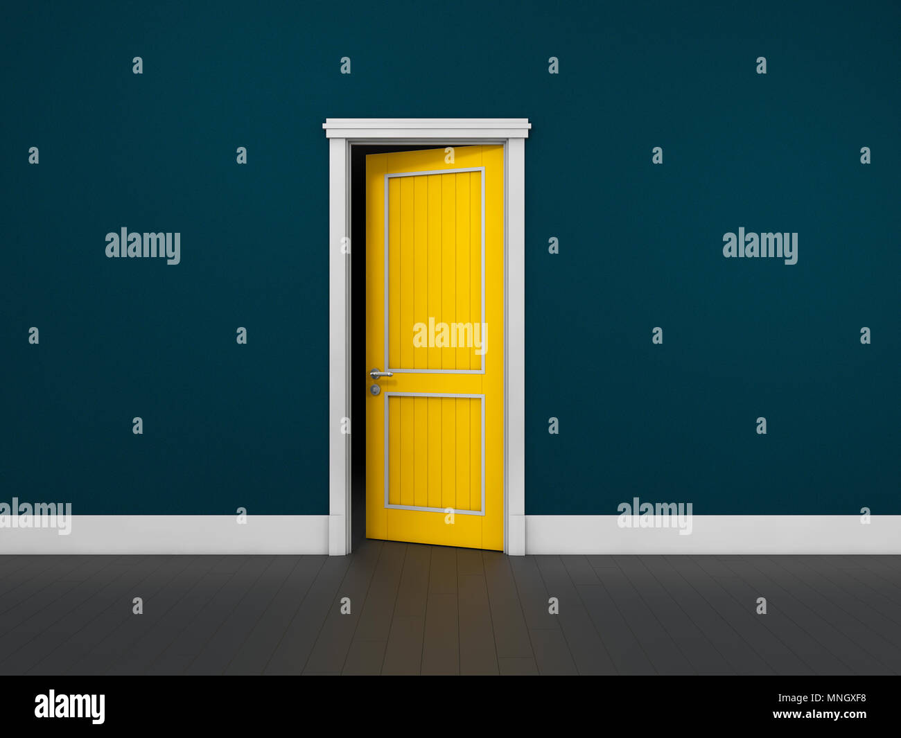 Opened door in a blue room. Chromatic image. 3d Illustration.  sc 1 st  Alamy & Opened door in a blue room. Chromatic image. 3d Illustration Stock ...