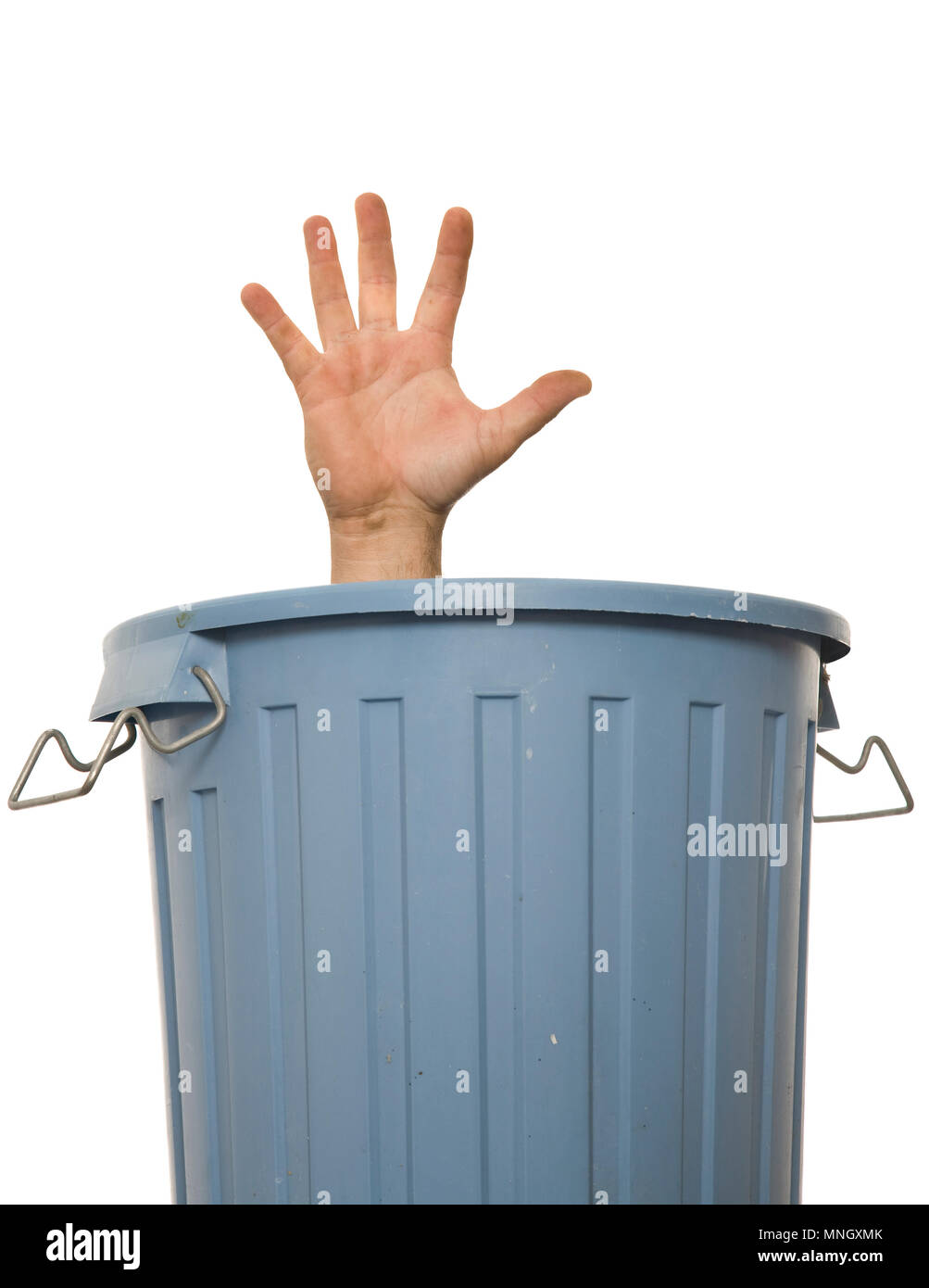 A hand raised from trash can, a concept of social issues and needing help. - Stock Image