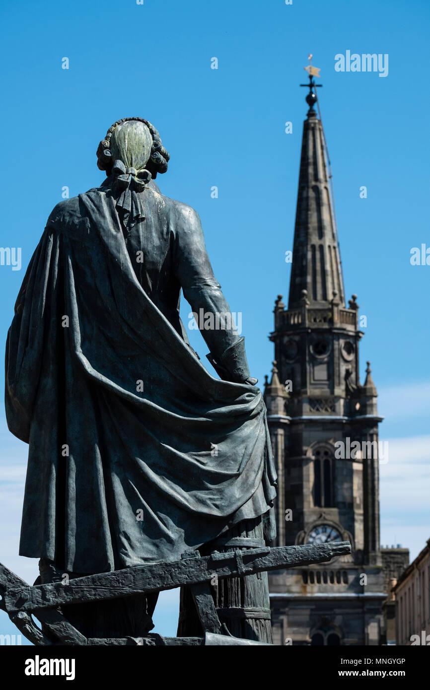 Statue of Adam Smith on the Royal Mile in Edinburgh, Scotland, UK - Stock Image