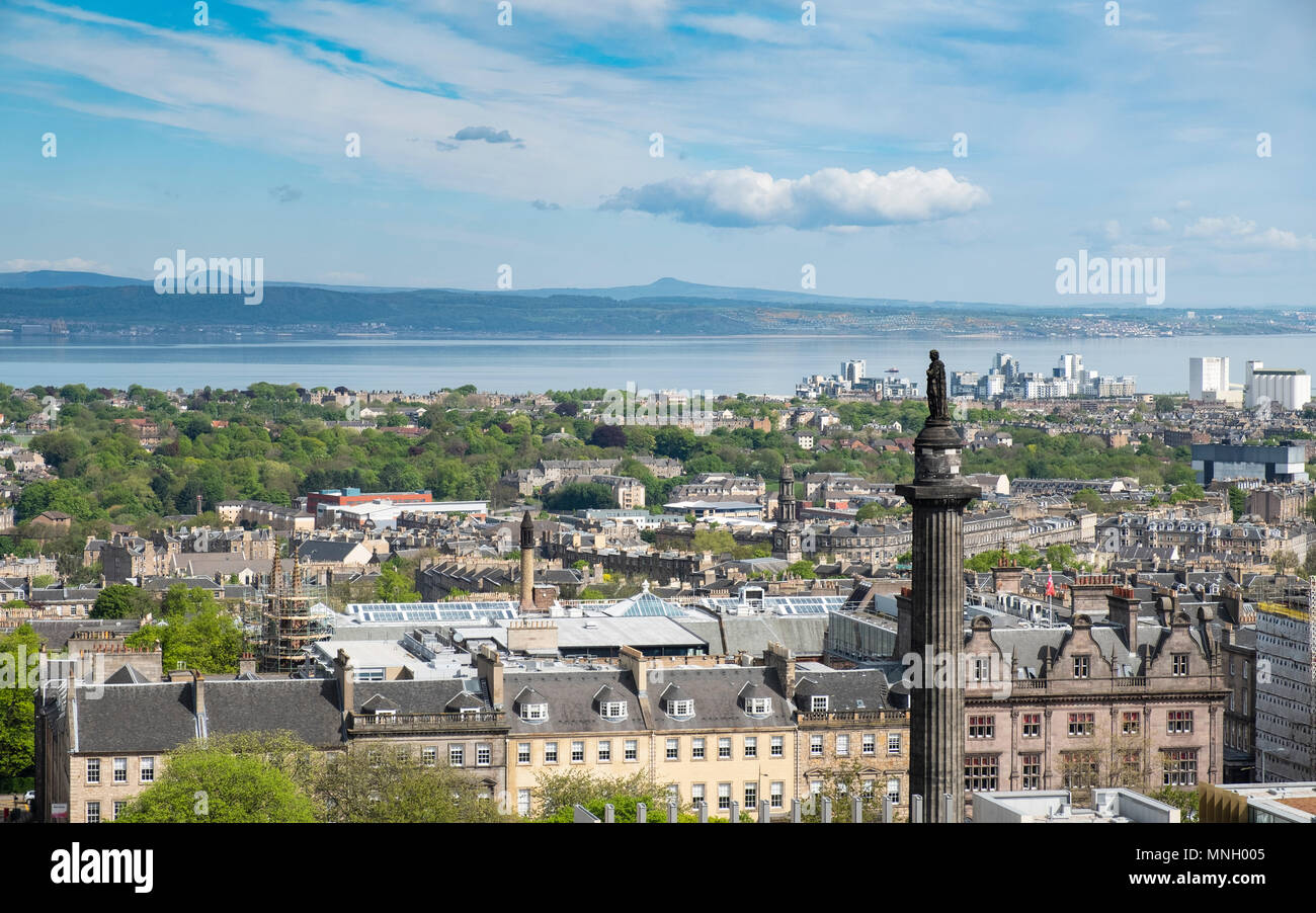 View over rooftops of the New Town in Edinburgh, Scotland, United Kingdom, UK - Stock Image
