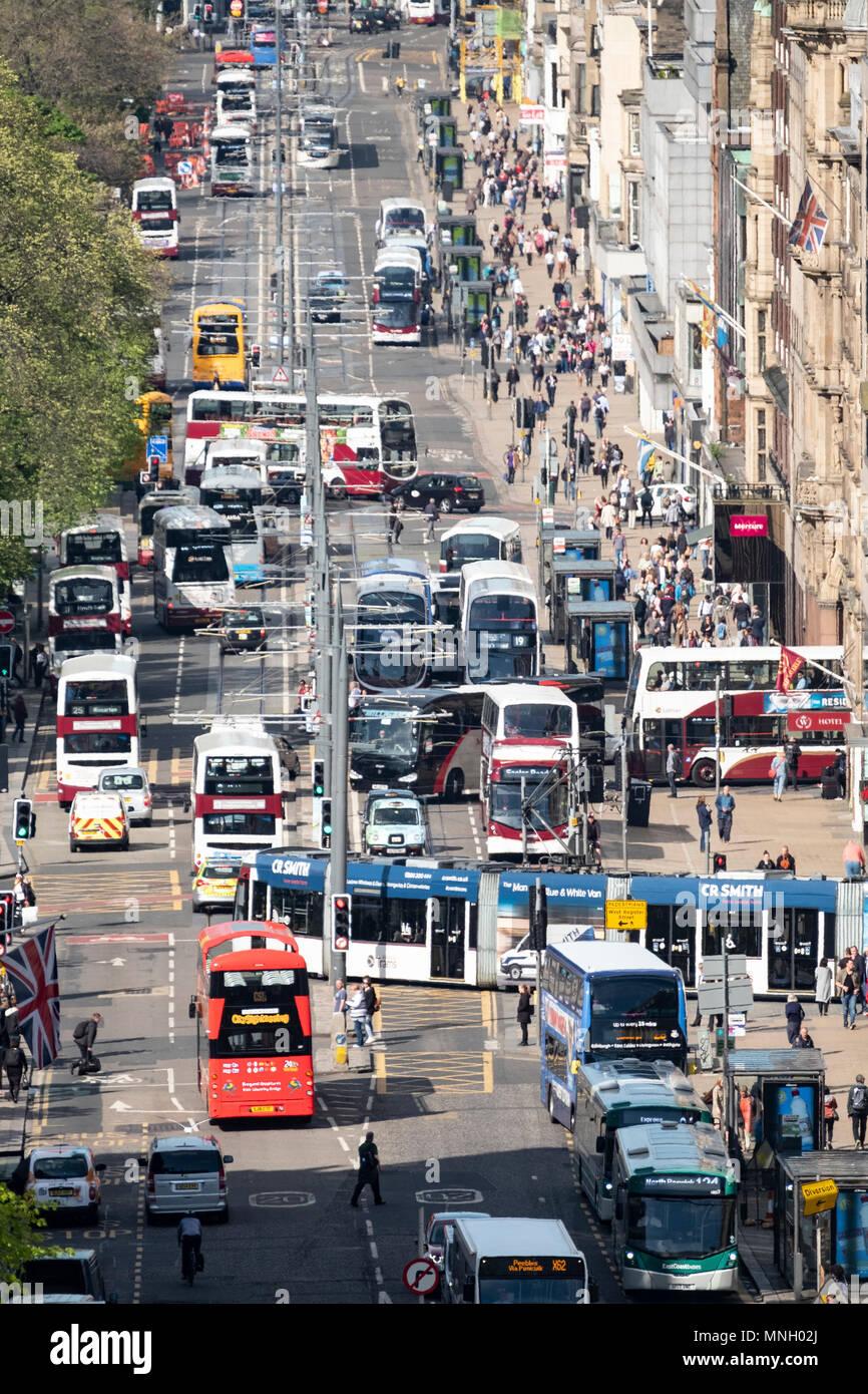 Busy traffic on Princes Street shopping street in central Edinburgh, Scotland, UK Stock Photo