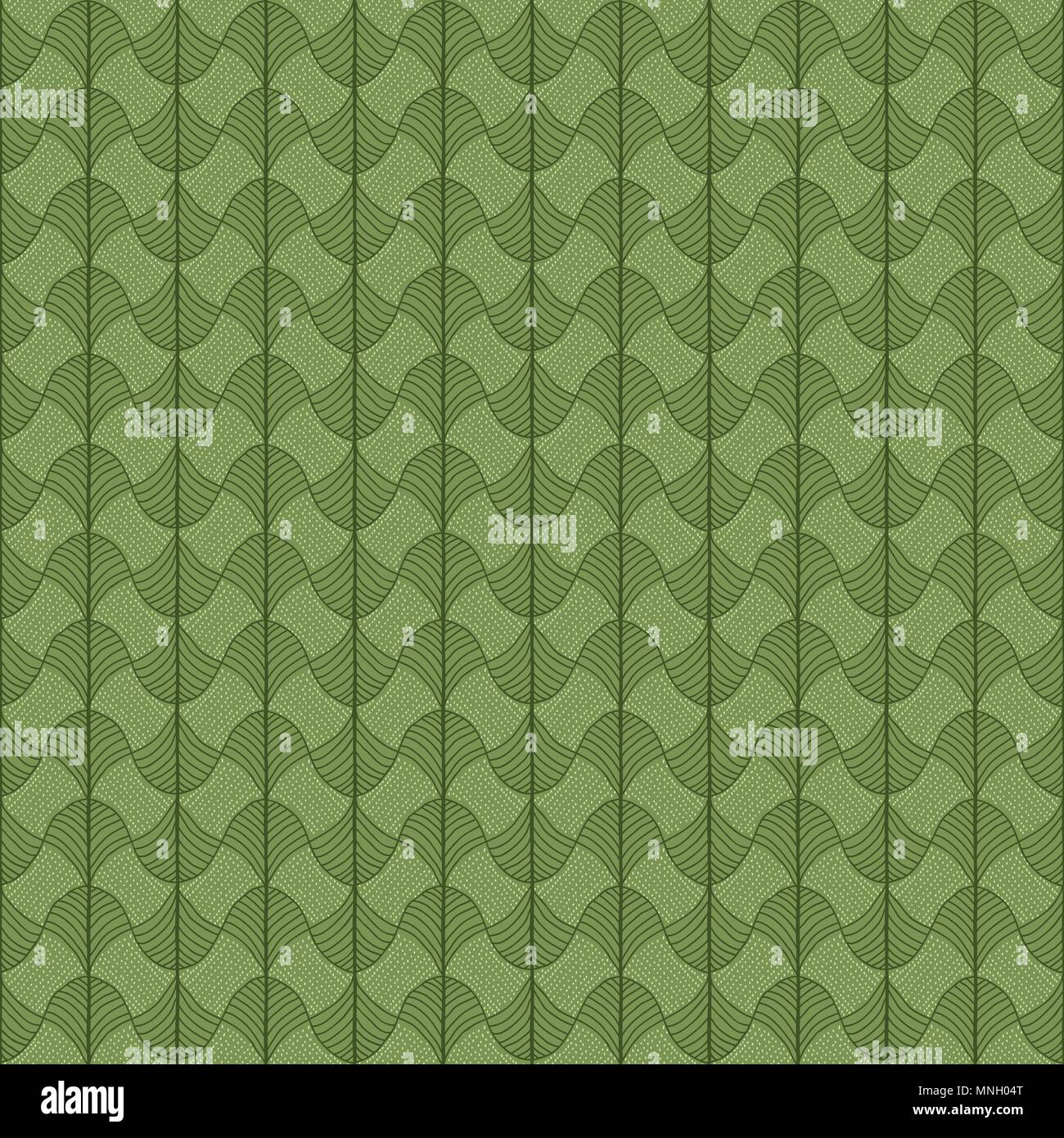 Abstract pattern based on a Traditional African Ornament. Green colors. Seamless vector pattern. Stylized papyrus leaves. Green background for decorat - Stock Image