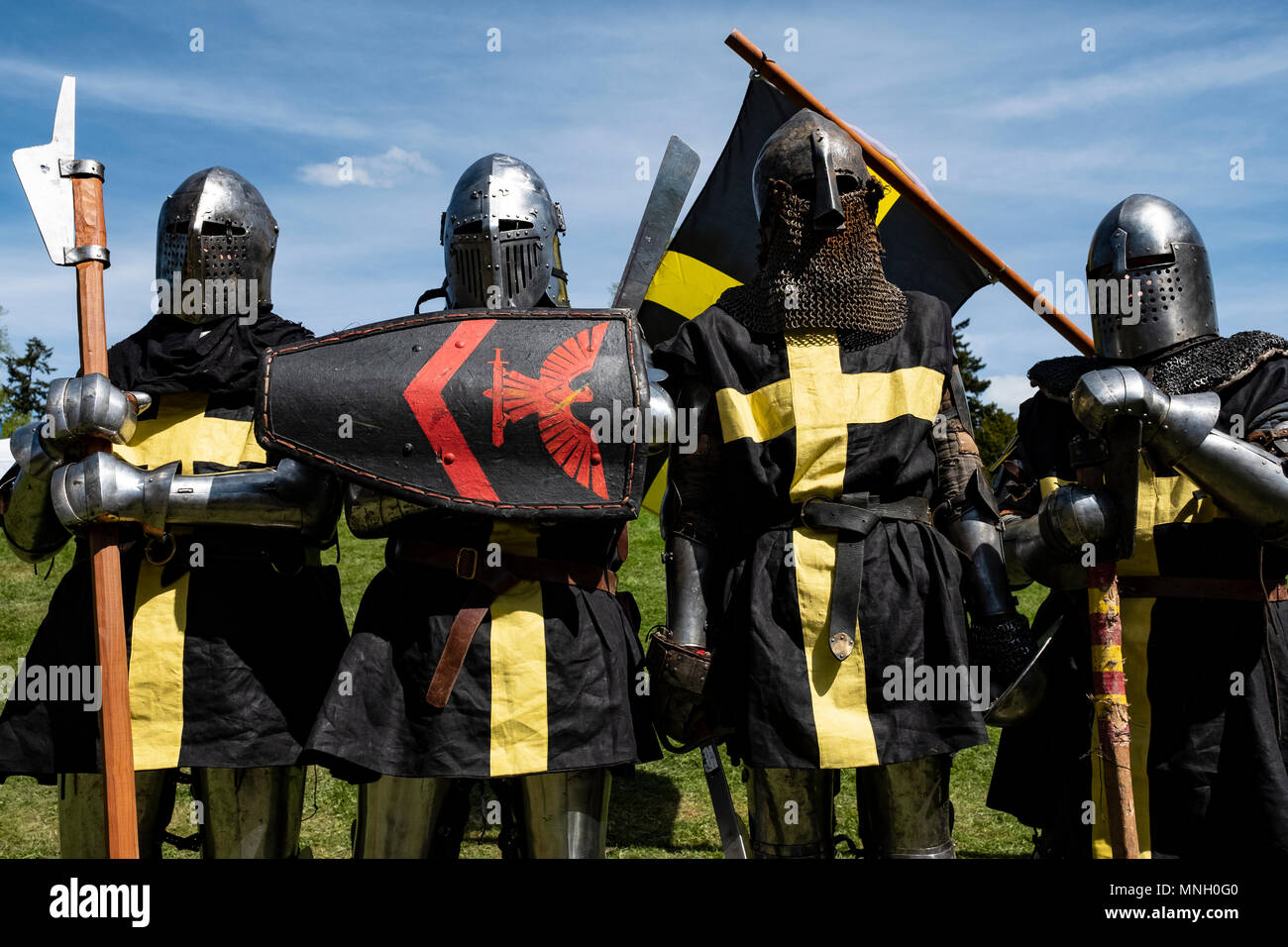 English knights prepare for combat during the  International Medieval Combat Federation (IMCF) World Championships  at Scone Palace on May 12, 2018 at - Stock Image