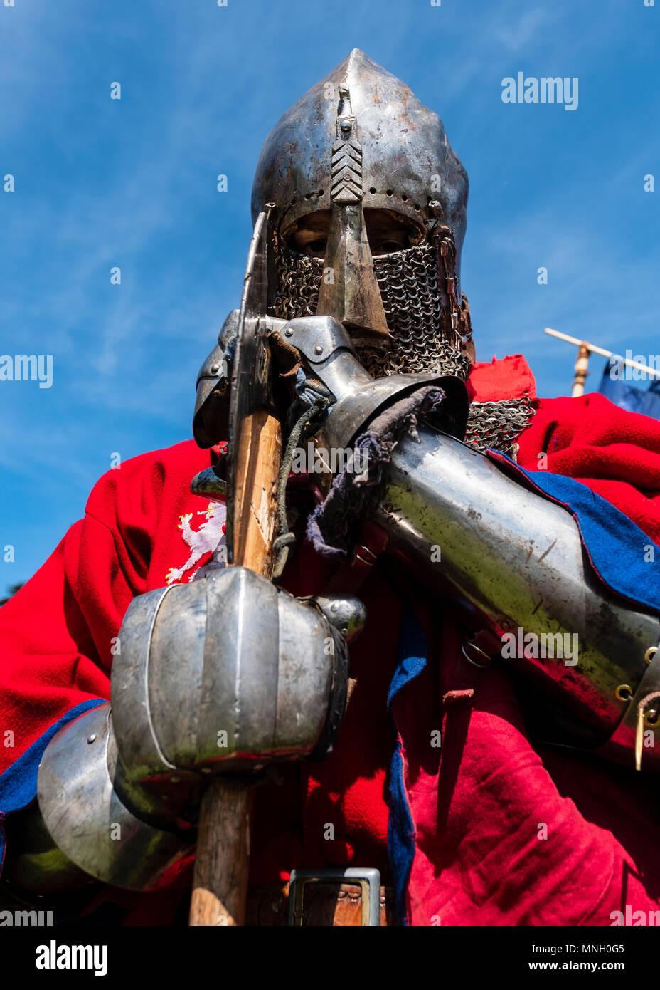 English knight portrait during the  International Medieval Combat Federation (IMCF) World Championships  at Scone Palace on May 12, 2018 at Scone Pala - Stock Image