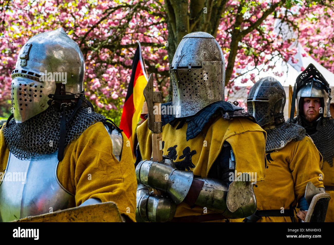 German knights prepare for combat during the  International Medieval Combat Federation (IMCF) World Championships  at Scone Palace on May 12, 2018 at  - Stock Image