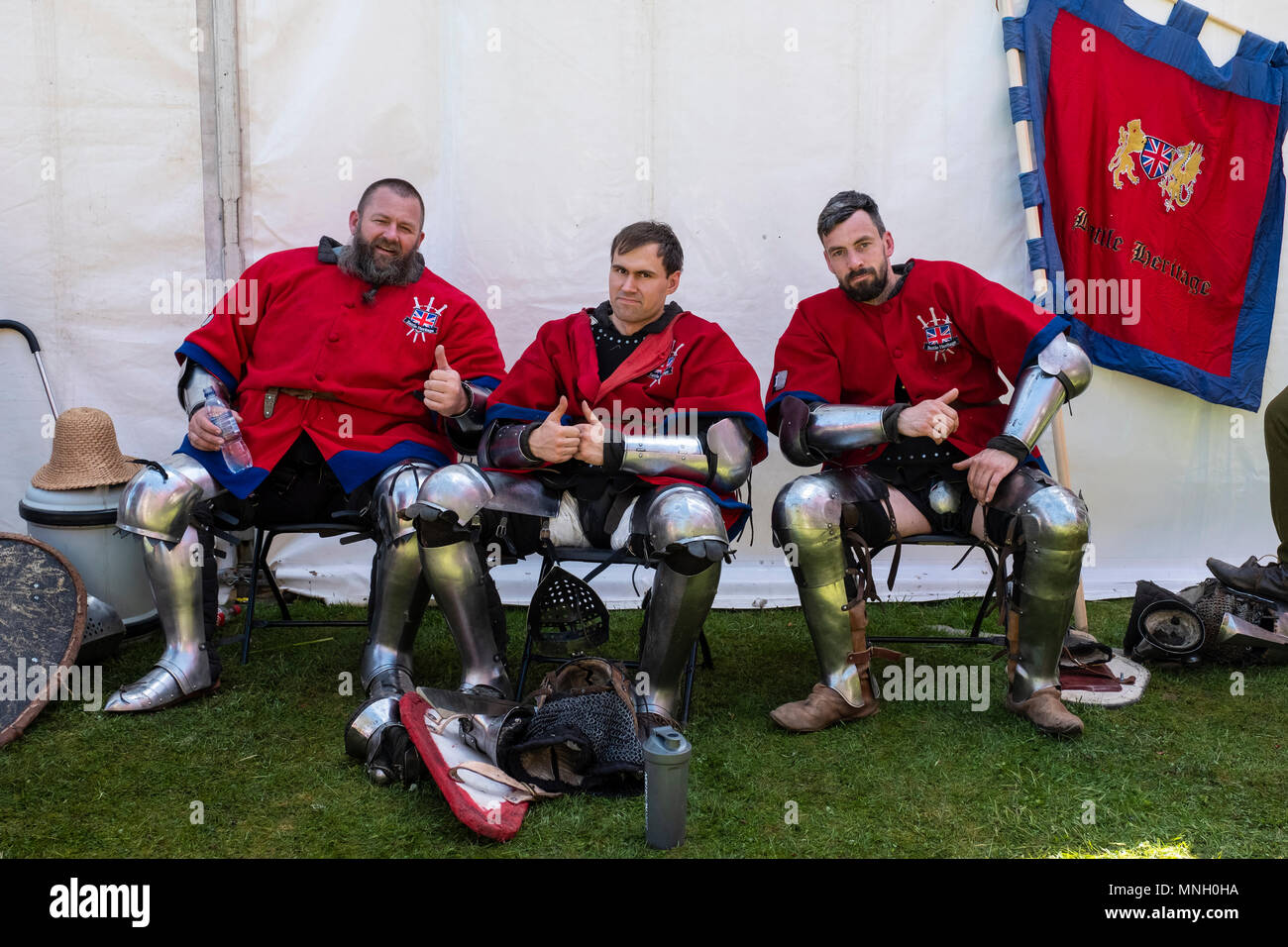 English knights rest during the  International Medieval Combat Federation (IMCF) World Championships  at Scone Palace on May 12, 2018 at Scone Palace  - Stock Image