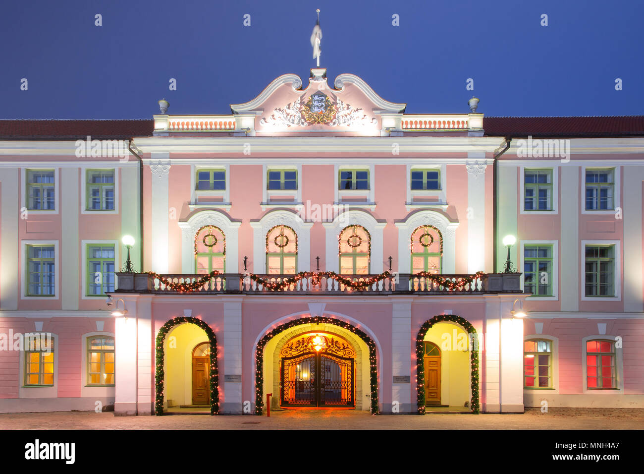 Old Town at night in Tallinn - Stock Image