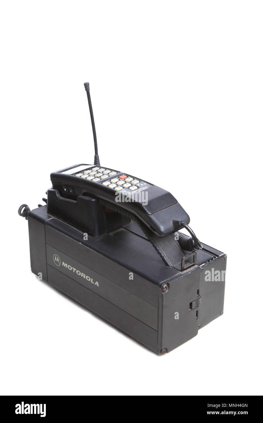 Hallstahammar, Sweden - December 10, 2012: One 1980s era Motorola MCR 9500XL mobilephone used in Sweden. - Stock Image