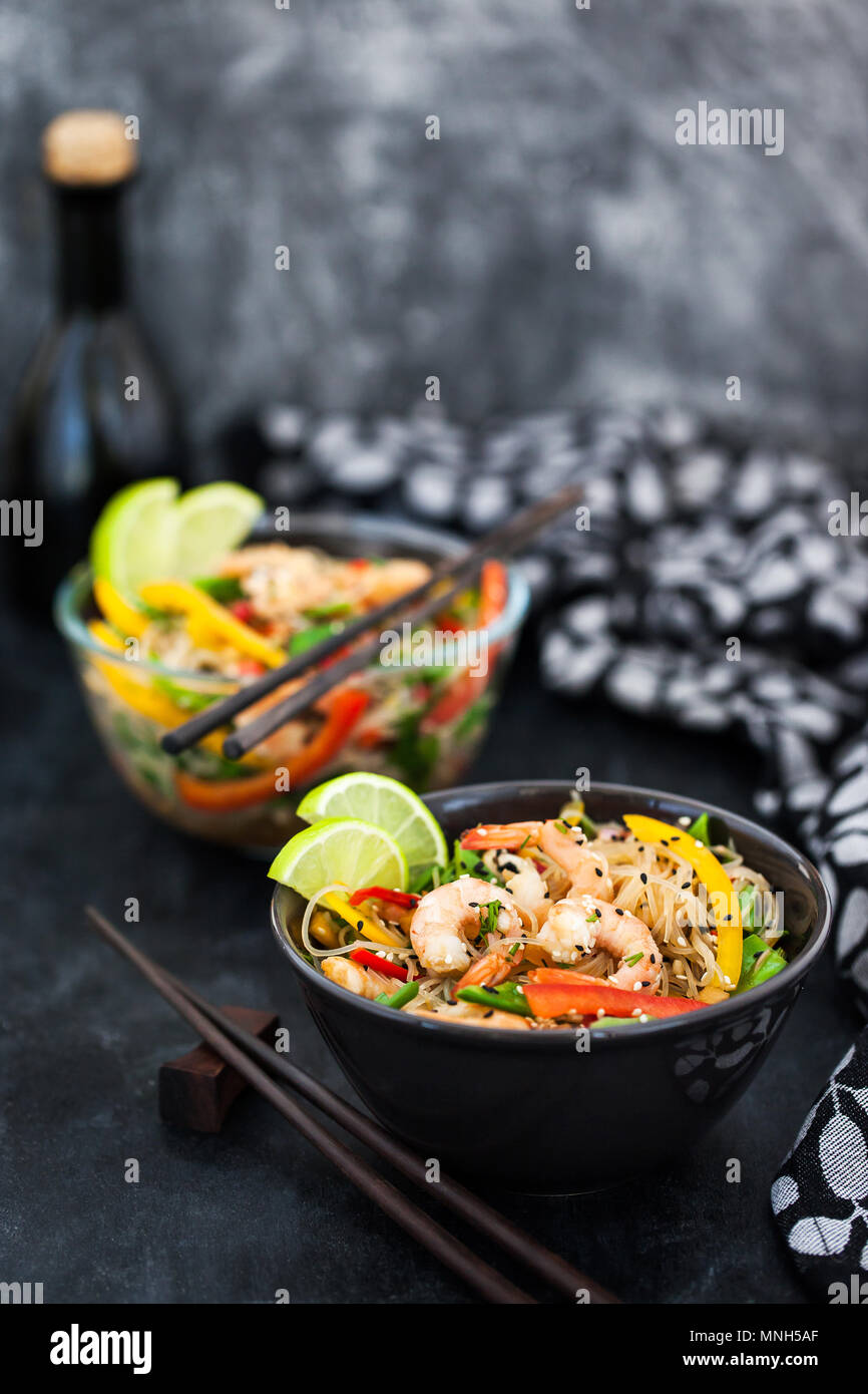 Delicious asian rice glass noodles with prawns and vegetables  (wok) Stock Photo