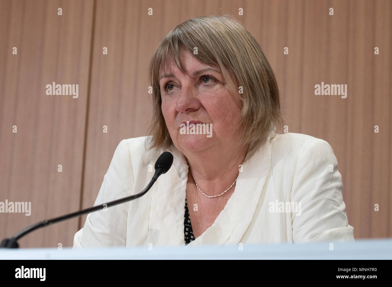 17 May 2018, Germany, Berlin: Former CDU member of the German Bundestag, Vera Lengsfeld, speaking during a press conference about the delivery of the 'Gemeinsame Erklaerung 2018'(lit. Joint Declaration 2018)to the Bundestag's petition committee. The declaration criticizes the German government's refugee policy. Photo: Paul Zinken/dpa - Stock Image