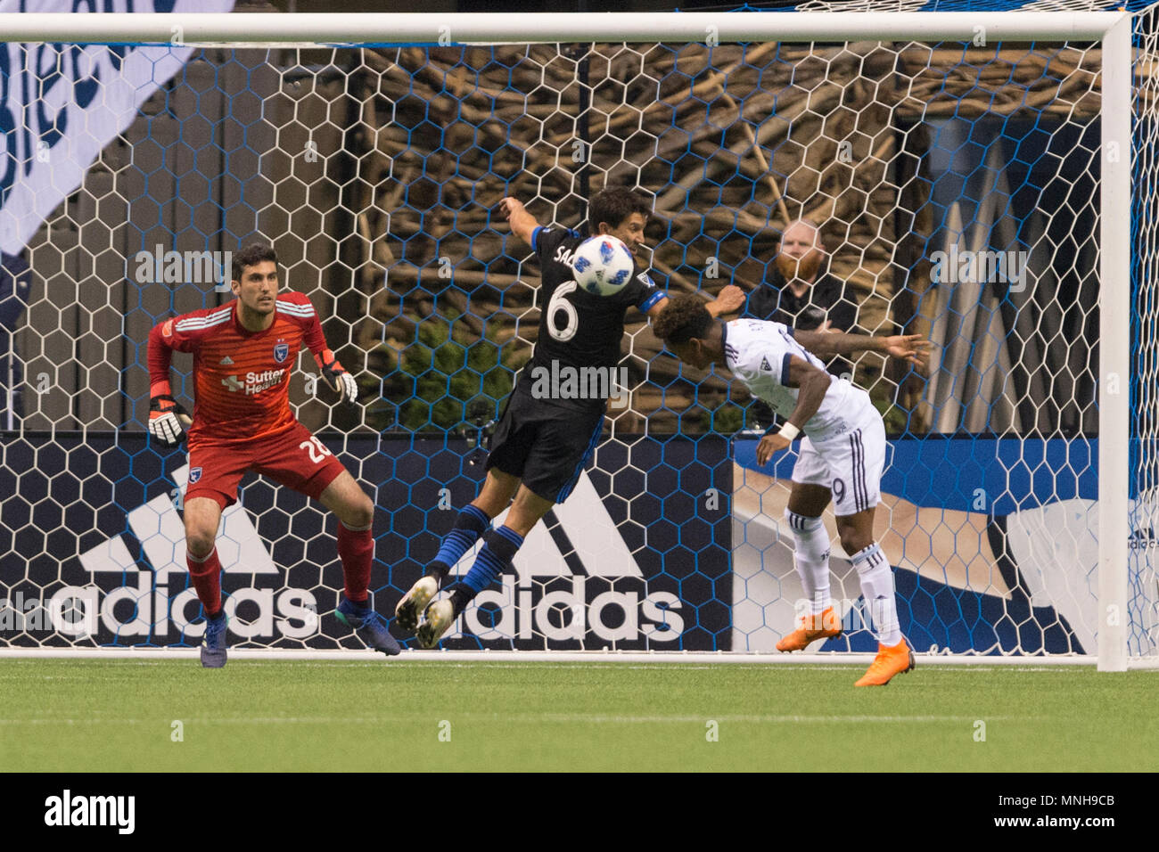 Vancouver, Canada. 16 May 2018. Yordi Reyna (29) of Vancouver Whitecaps heads the ball in net for a goal. Game ends with a 2-2 tie. Vancouver Whitecaps vs San Jose Earthquakes BC Place.  © Gerry Rousseau/Alamy Live News - Stock Image