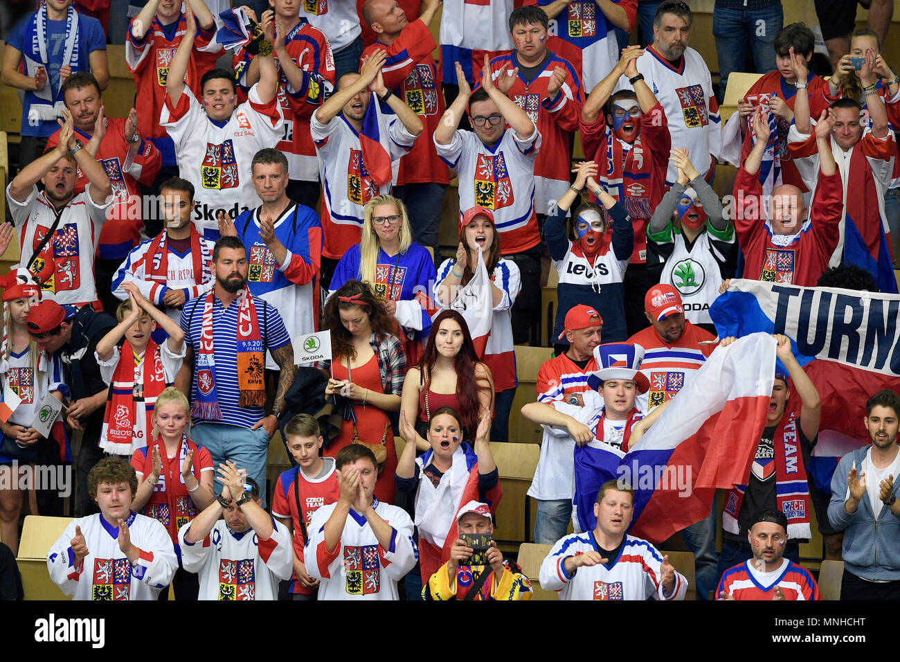 Czech fans during the Ice Hockey World Championships quarterfinal match USA vs Czech Republic in Herning, Denmark, May 17, 2018. (CTK Photo/Ondrej Deml) Stock Photo