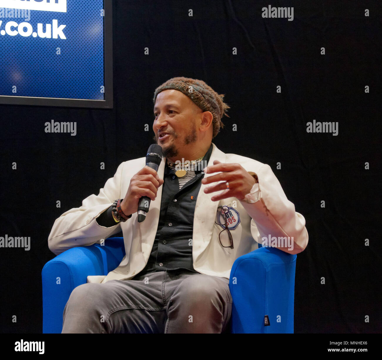 Fuzz Townshend, from the TV show, Car S.O.S., being interviewed at the Lecture Theatre, during the press day of  the London Motor Show 2018. - Stock Image