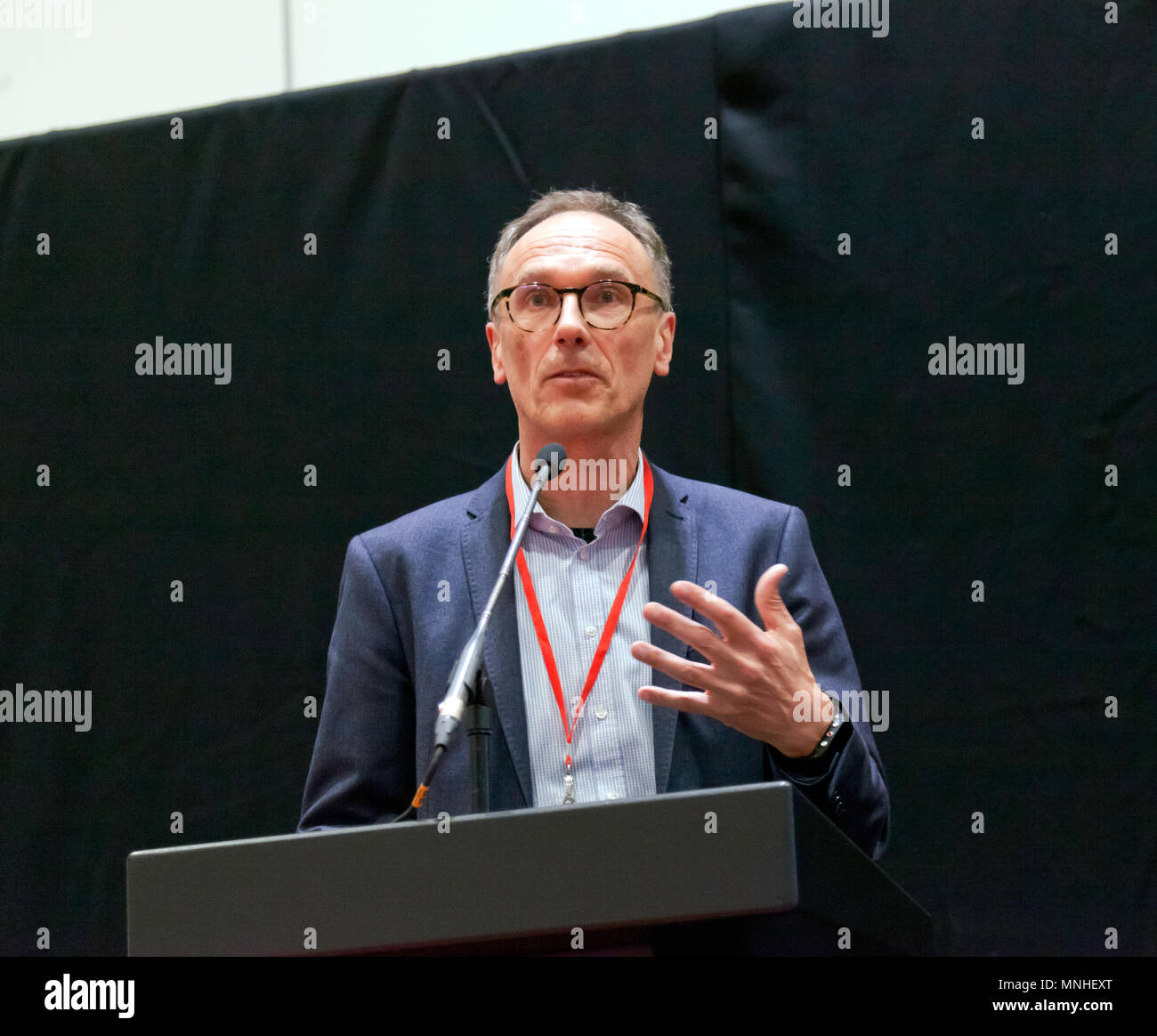 Prof. Dr. Andreas Herrmann,  giving a lecture on Autonomous Driving, at the Lecture Theatre, during the press day of the London Motor Show 2018. - Stock Image