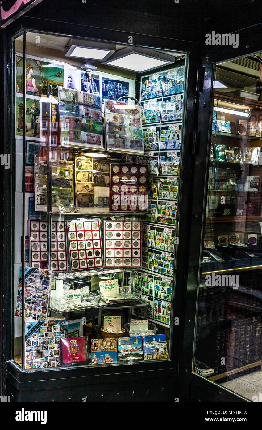 Stamp shop window, Madrid, Spain. - Stock Image
