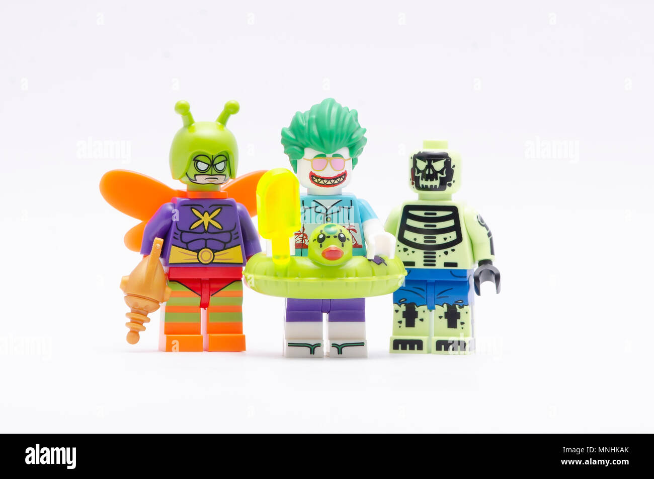 mini figure of killer moth, Doctor Phosphorus and joker . Lego minifigures are manufactured by The Lego Group. - Stock Image