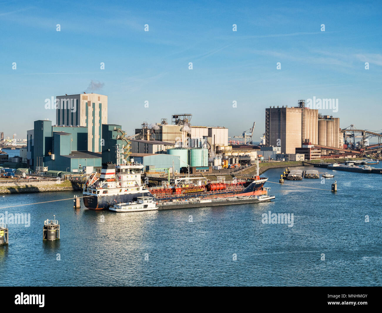 6 April 2018: Rotterdam, Netherlands - Chemical or Oil Tanker Besiktas Pera at Port of Rotterdam on a bright spring morning with clear blue sky. - Stock Image