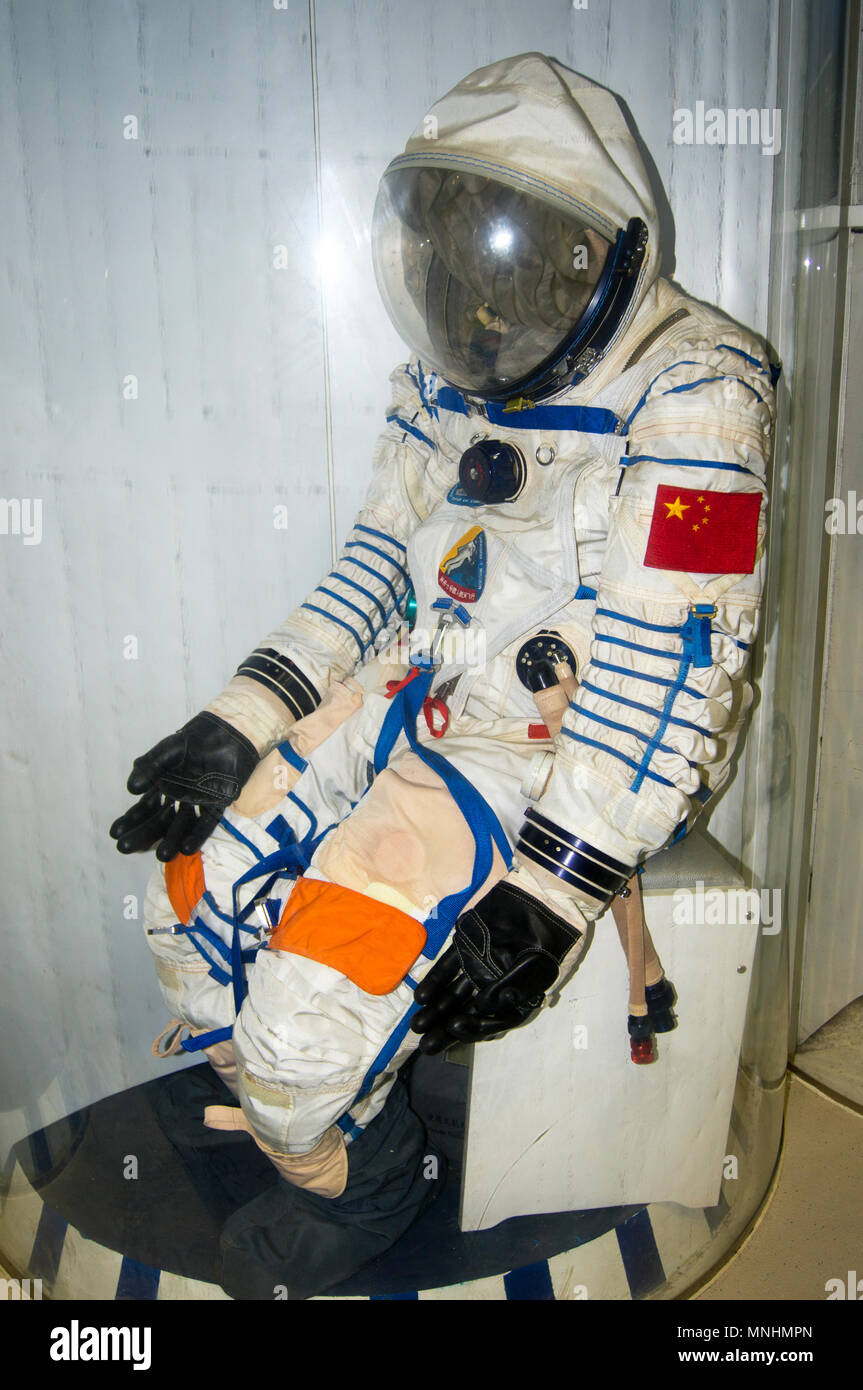 A Chinese spacesuit flown on the Shenzhou 7 mission on display at the China Science and Technology Museum in Beijing, China. - Stock Image