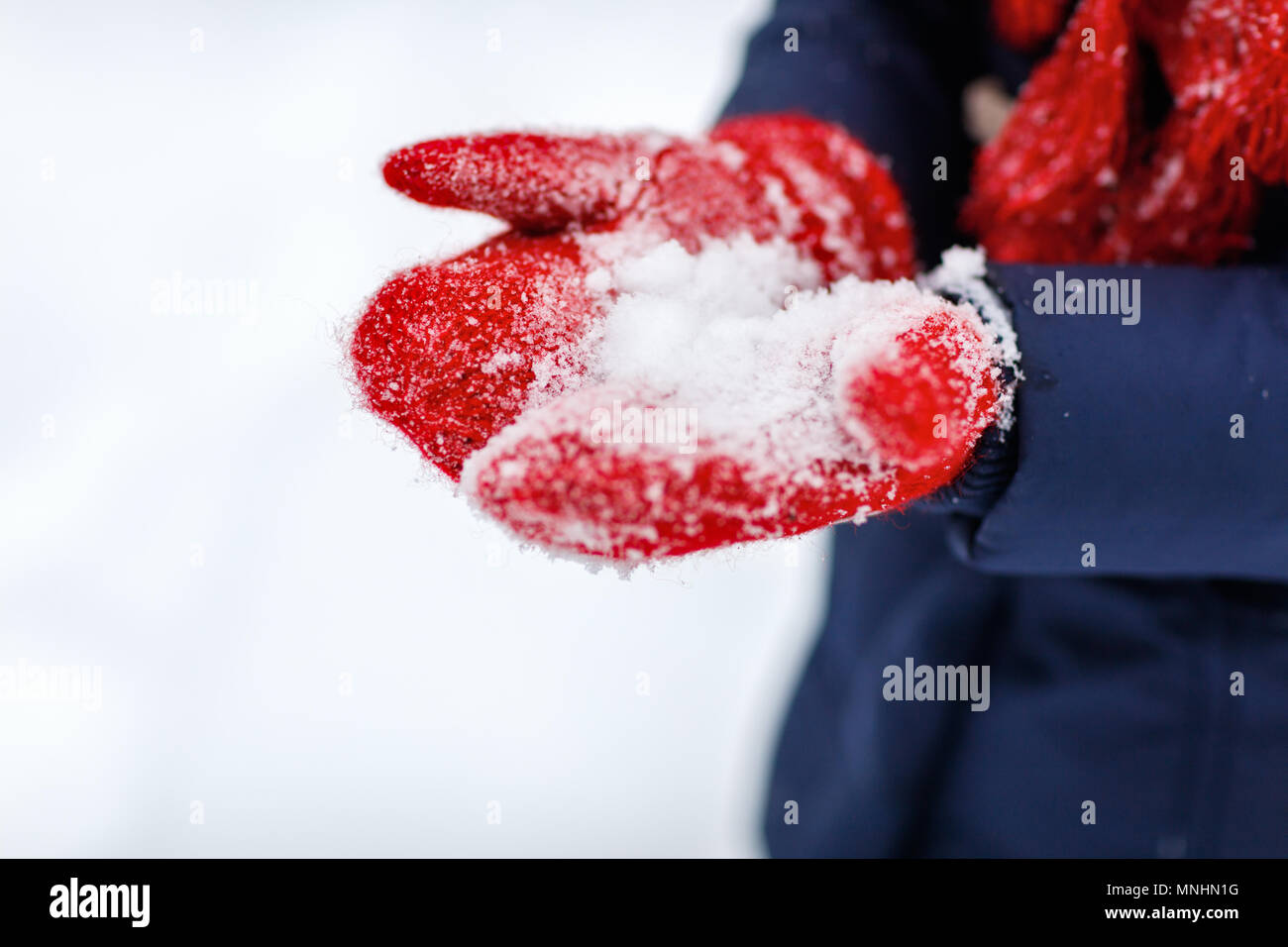 Close up of red wool gloves - Stock Image