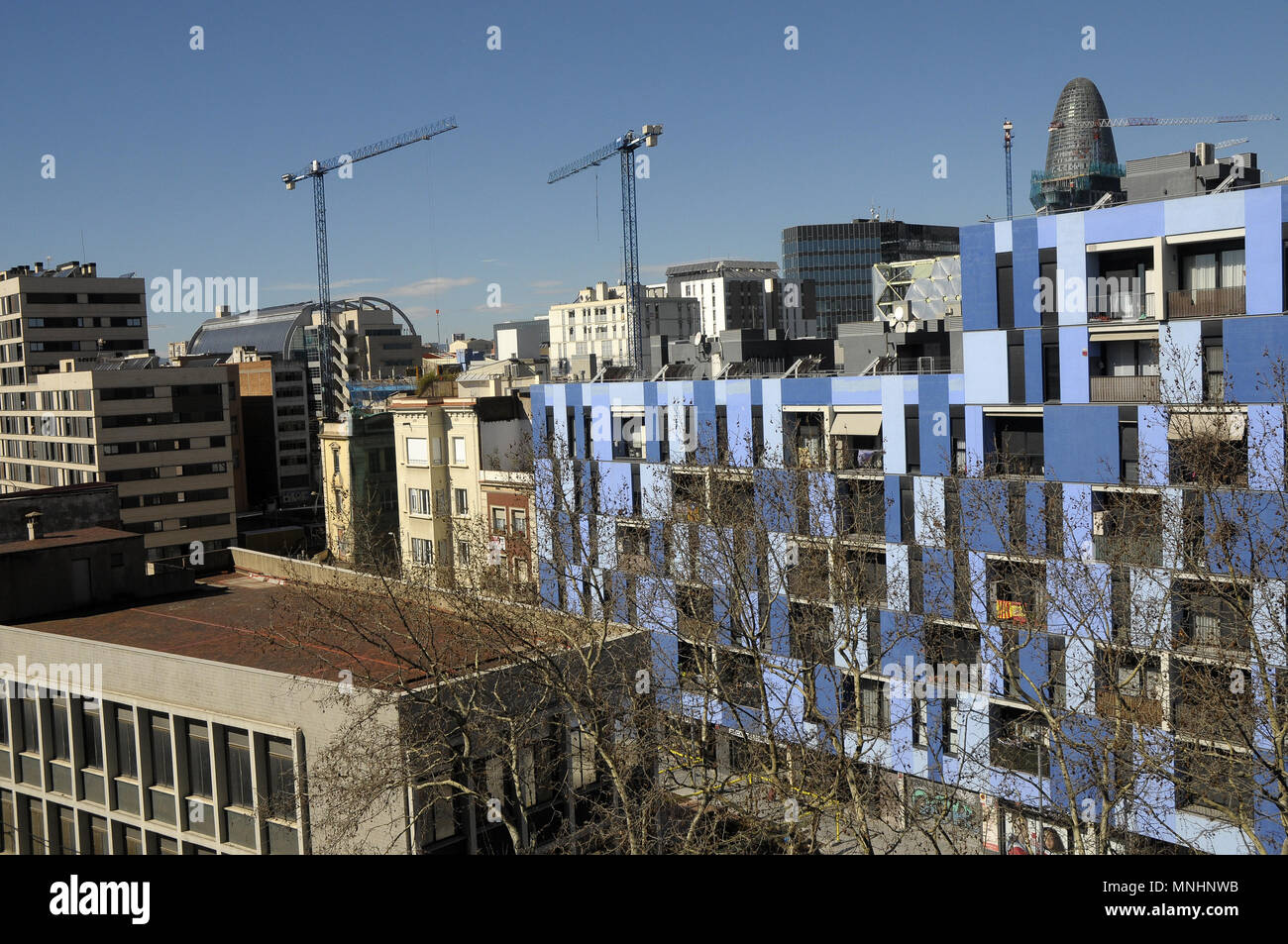 VIEW OF BUILDINGS at POBLE NOU DISTRICT BARCELONA - Stock Image