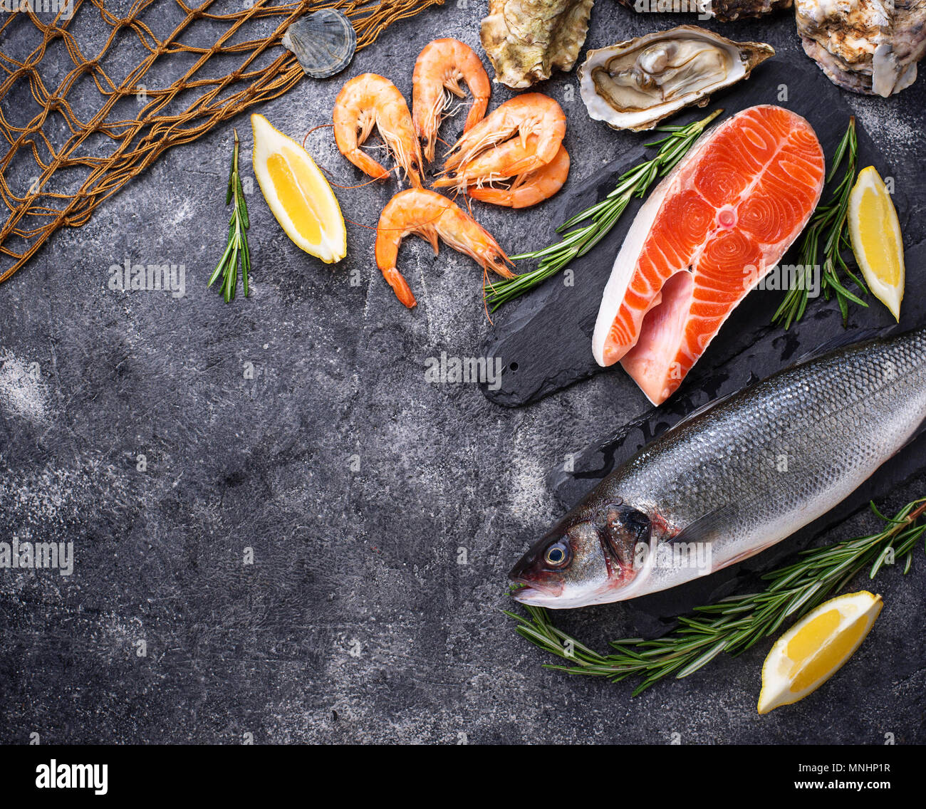 Salmon, seabass, shrimps and oysters - Stock Image
