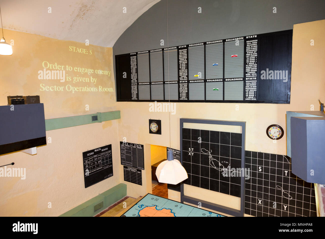 RAF Sector Operations Room / Fighter Control Room with map / radar plotting table used in the defence of the island of Malta. Lascaris War Rooms are an underground complex of tunnels & chambers in Valletta, Malta - Stock Image