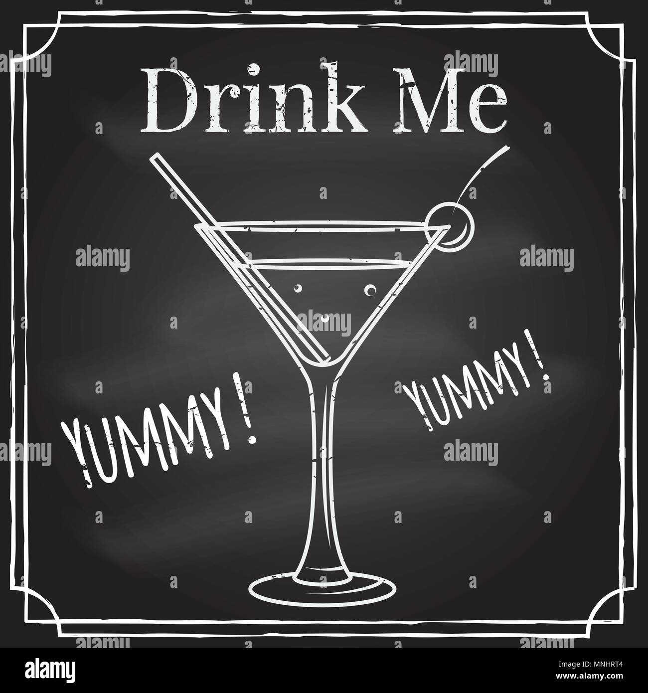 Drink me. Elements on the theme of the restaurant business. Chalk drawing on a blackboard. For cafe or cocktail bar. Cocktail emblem. Thin line icon - Stock Vector