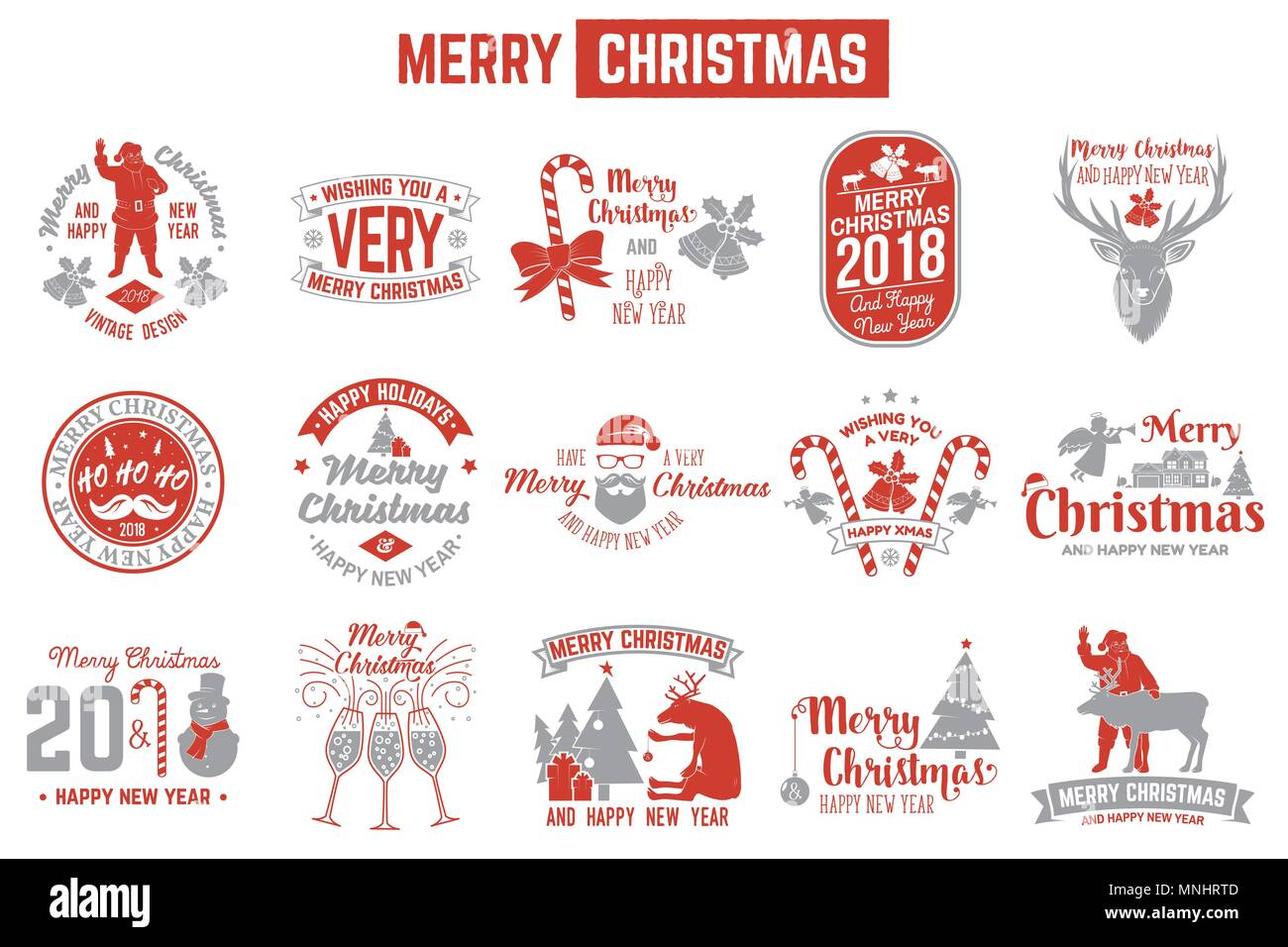 Merry Christmas and Happy New Year 2018 retro template with Santa ...