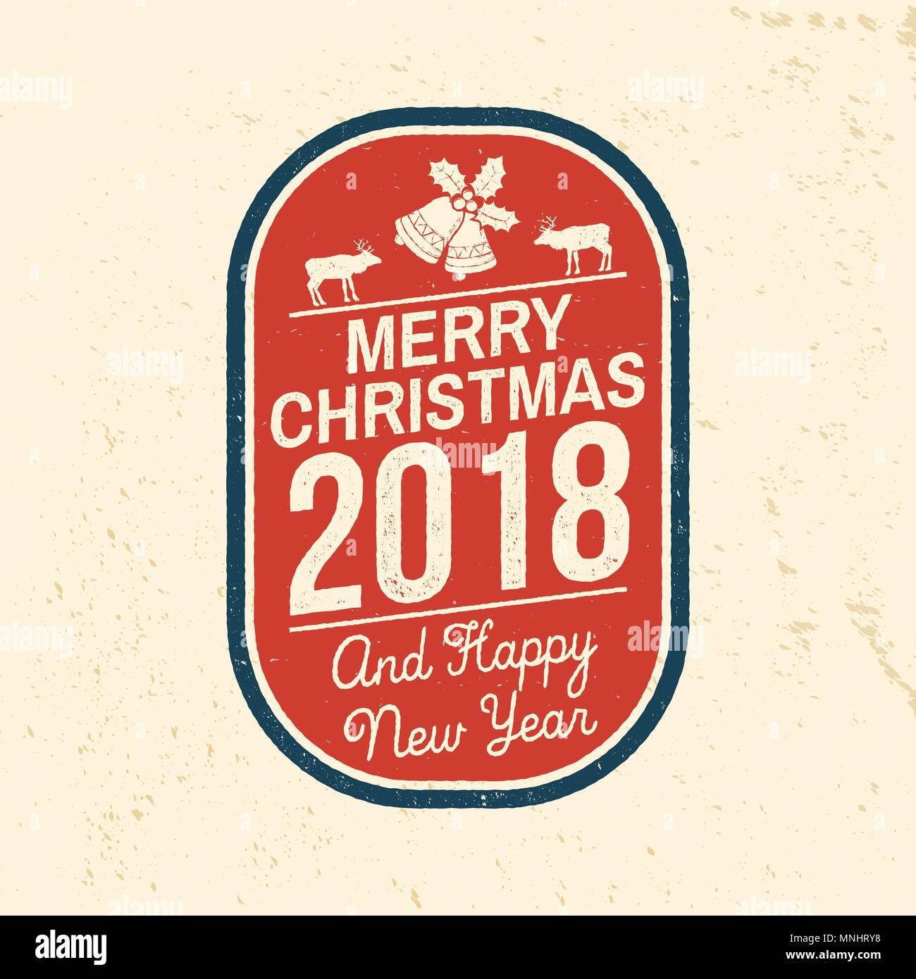 merry christmas and happy new year 2018 retro template with christmas bells and reindeers vector illustration xmas design for congratulation cards