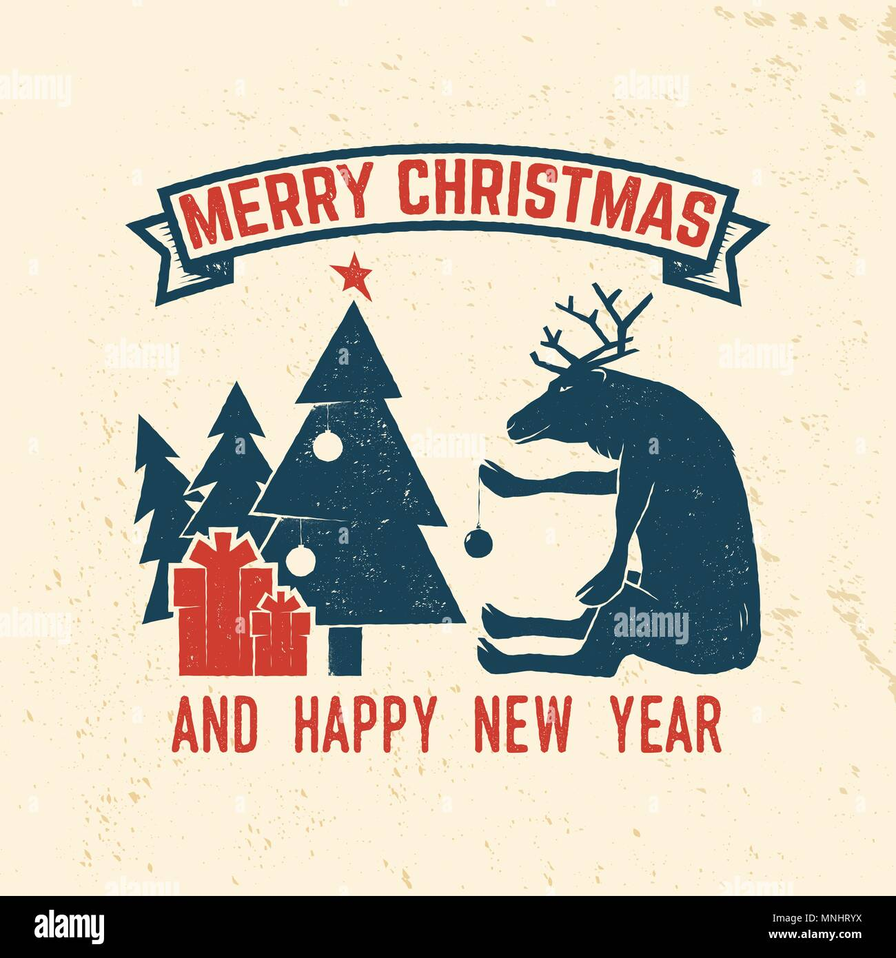 merry christmas and happy new year 2018 retro template with christmas tree gifts and reindeer vector illustration xmas design for congratulation ca