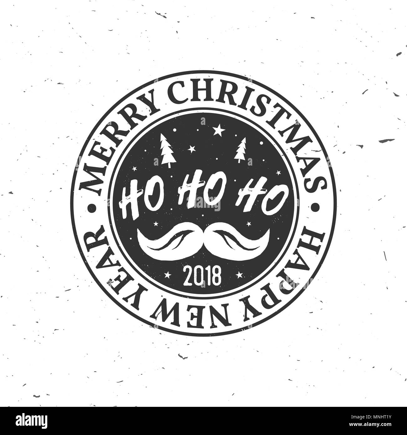 Merry Christmas and Happy New Year 2018 retro template with ...