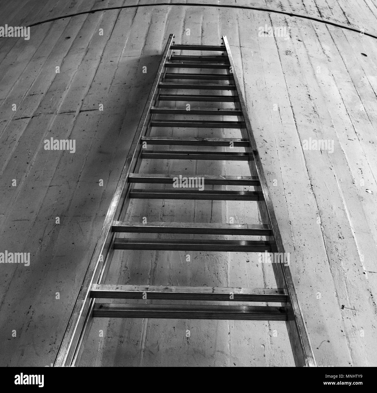 Ladder against concrete old wall - Stock Image