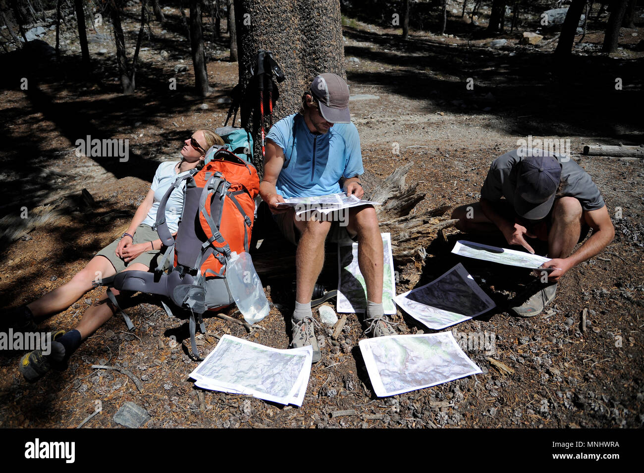 Backpackers consult their maps at Horse Heaven on trek of Sierra High Route in John Muir Wilderness in California, USA - Stock Image