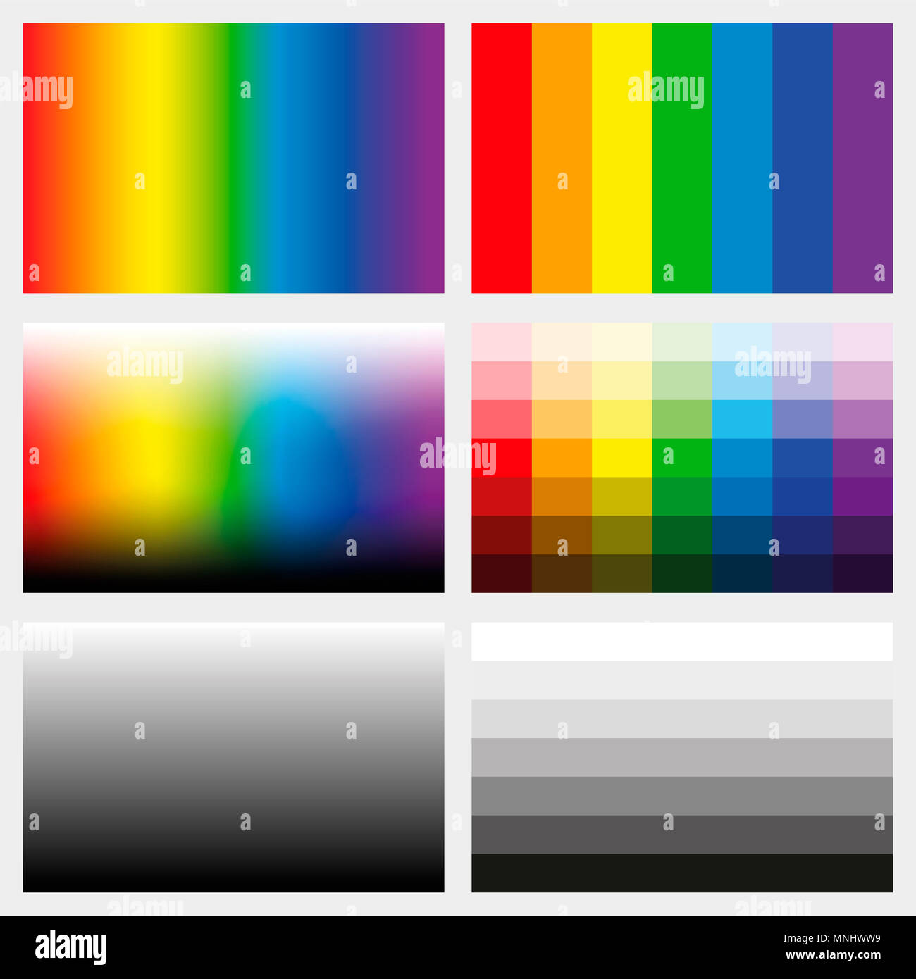 Shade tabs. Set of color gradients, grayscales and saturation spectrums in different gradations from light to dark - work tool for graphic design. - Stock Image