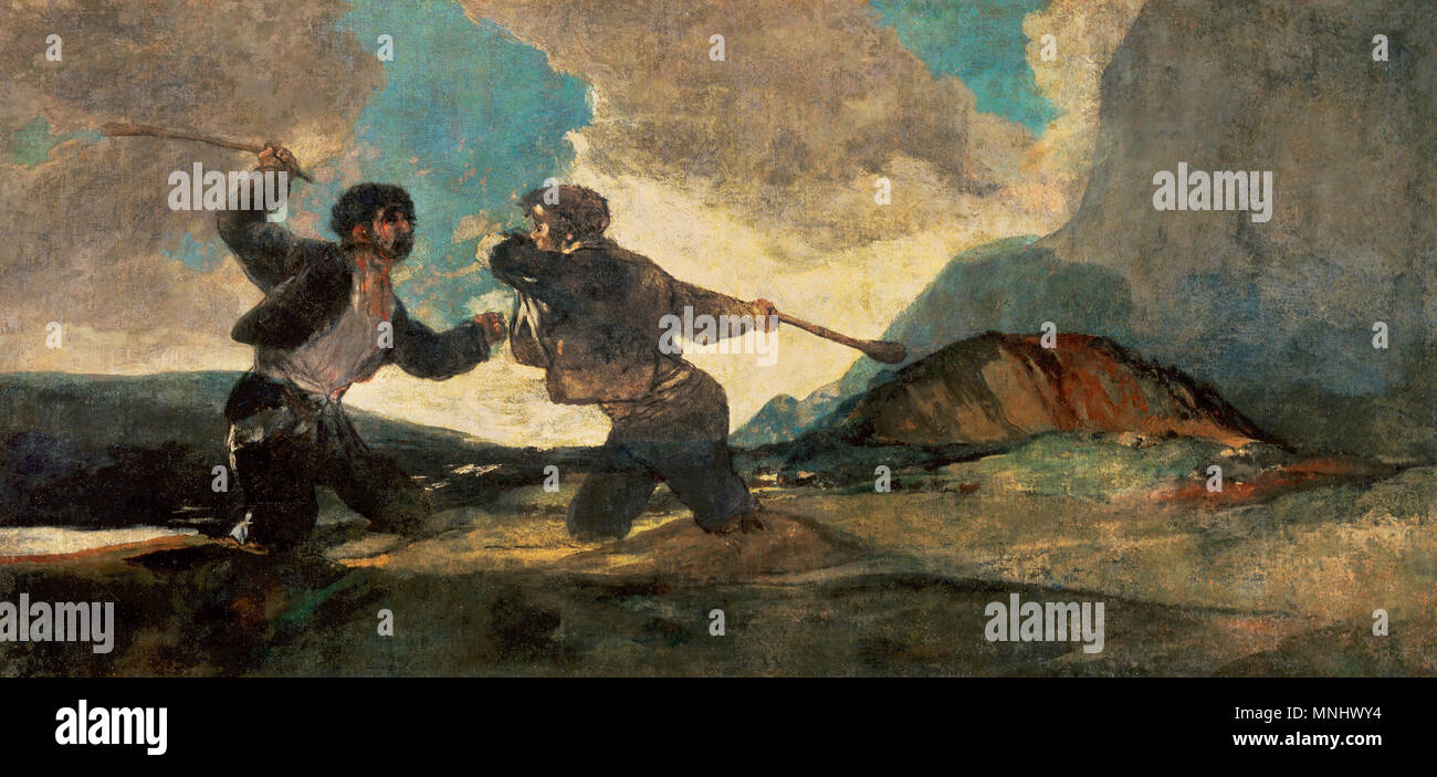 Francisco de Goya y Lucientes (1746-1828). Spanish romantic painter. Fight to the Deah with Clubs, c. 1820-1823. Size: 125 x 261 cm. Depiction of duels in which the opponents clubbed each other to death. They were allowed in Aragon and Catalonia. Mixed method on mural transferred to canvas. Provenance: Quinta del Sordo, Madrid. Prado Museum. Madrid, Spain. - Stock Image