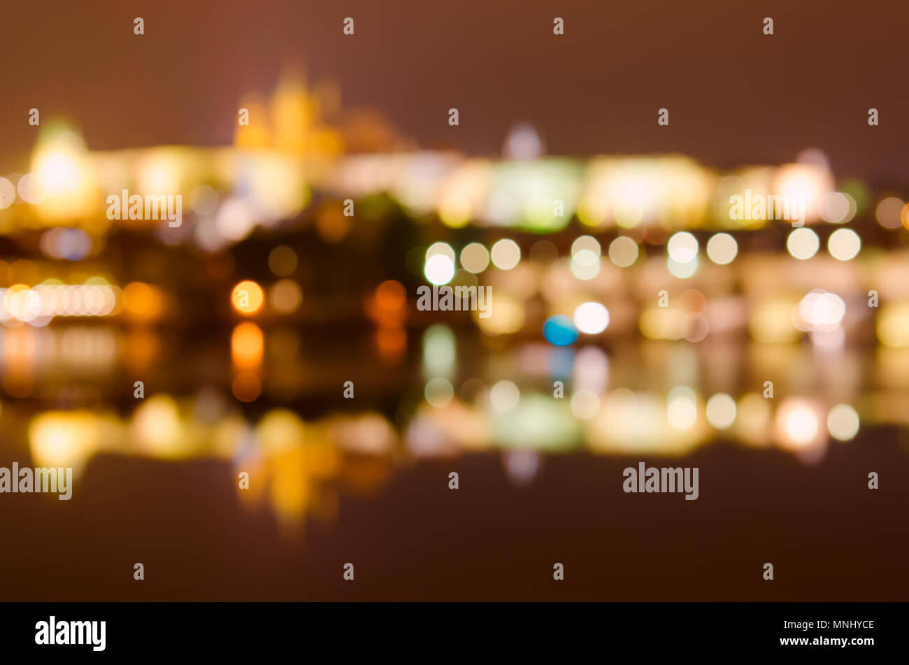Prague at Night background - Stock Image