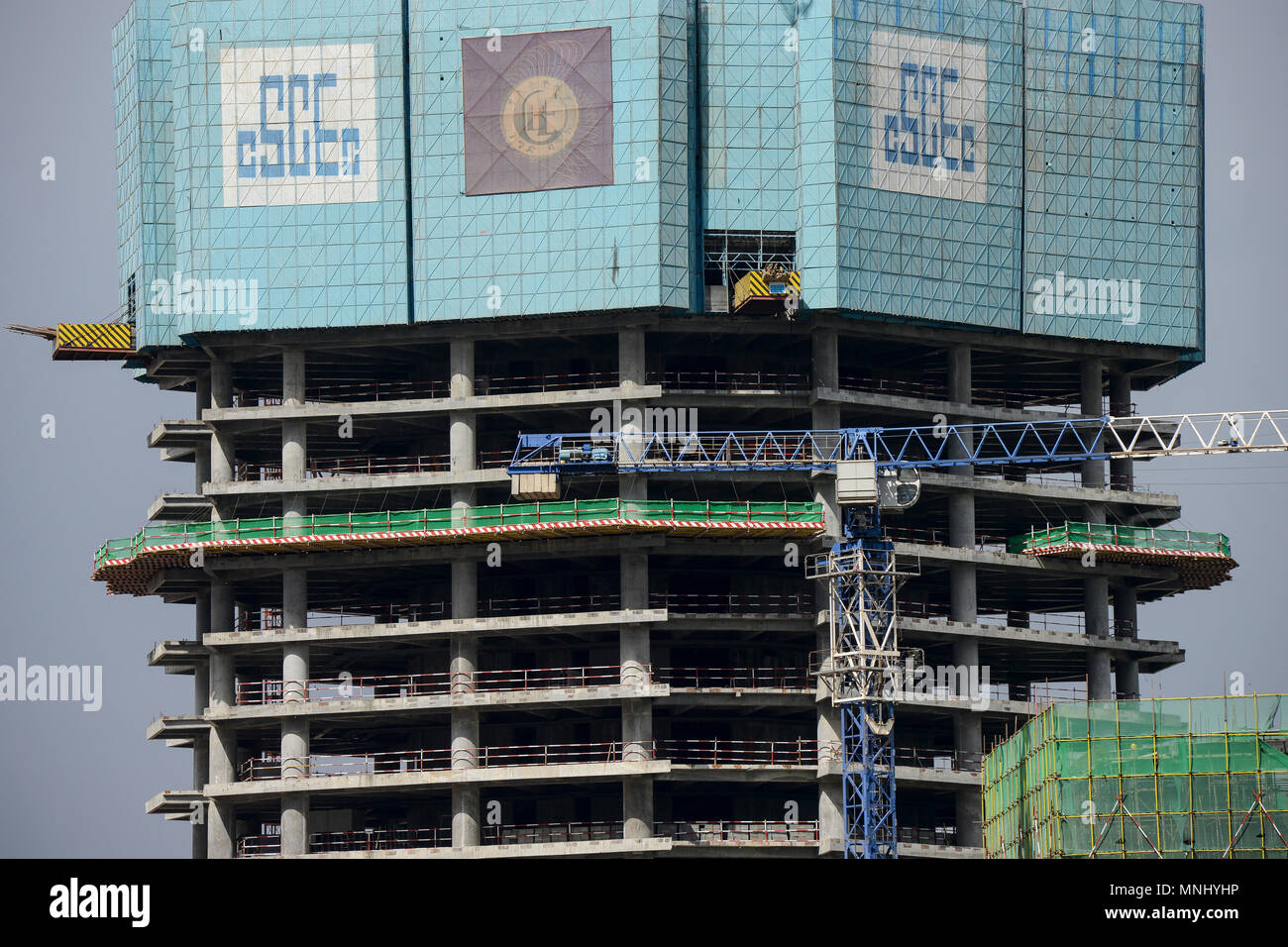 ETHIOPIA , Addis Ababa, office tower and Bank building construction by CSCEC China State Construction Engineering Corporation Ltd. / AETHIOPIEN, Addis Abeba, Baustellen chinesischer Baufirmen - Stock Image