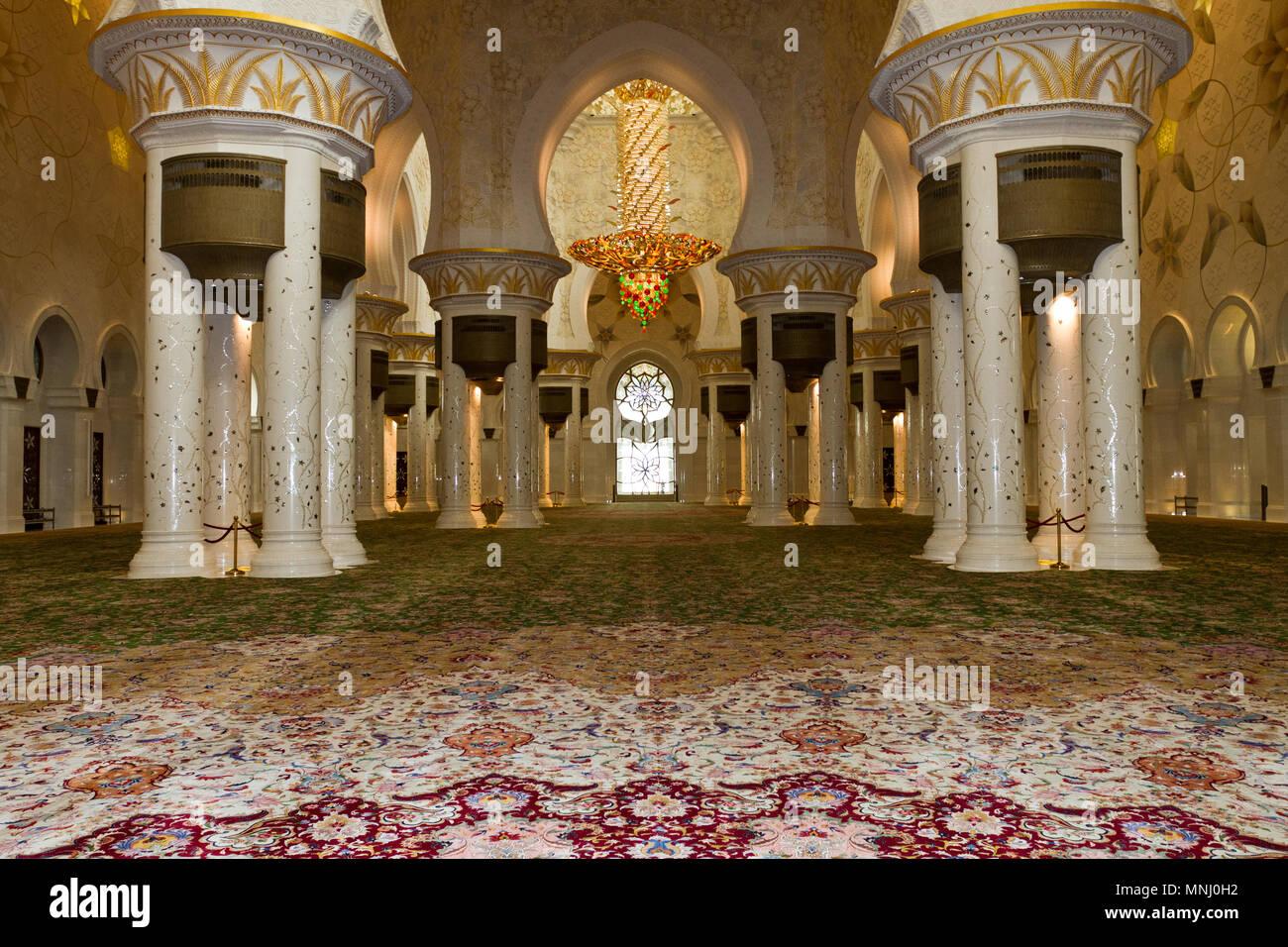 Sheikh Zayed Grand Mosque.  Scheich-Zayid-Moschee. Abu Dhabi. - Stock Image