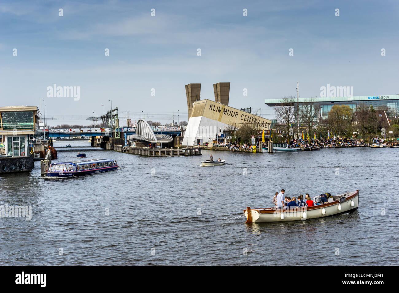 River Ij, Amsterdam, Netherlands, Europe. - Stock Image