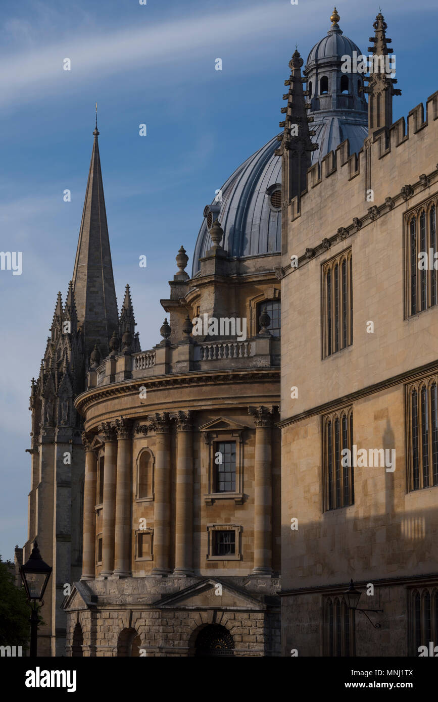 The Old Bodleian Library, Radcliffe Camera and University Church, Oxford, UK - Stock Image