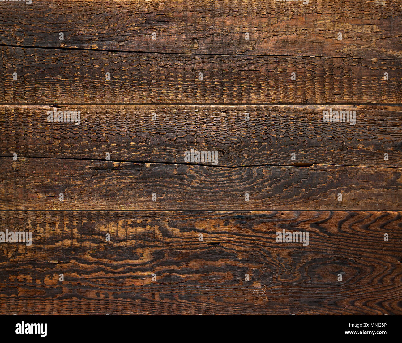 Wall of old charred boards as a background. - Stock Image