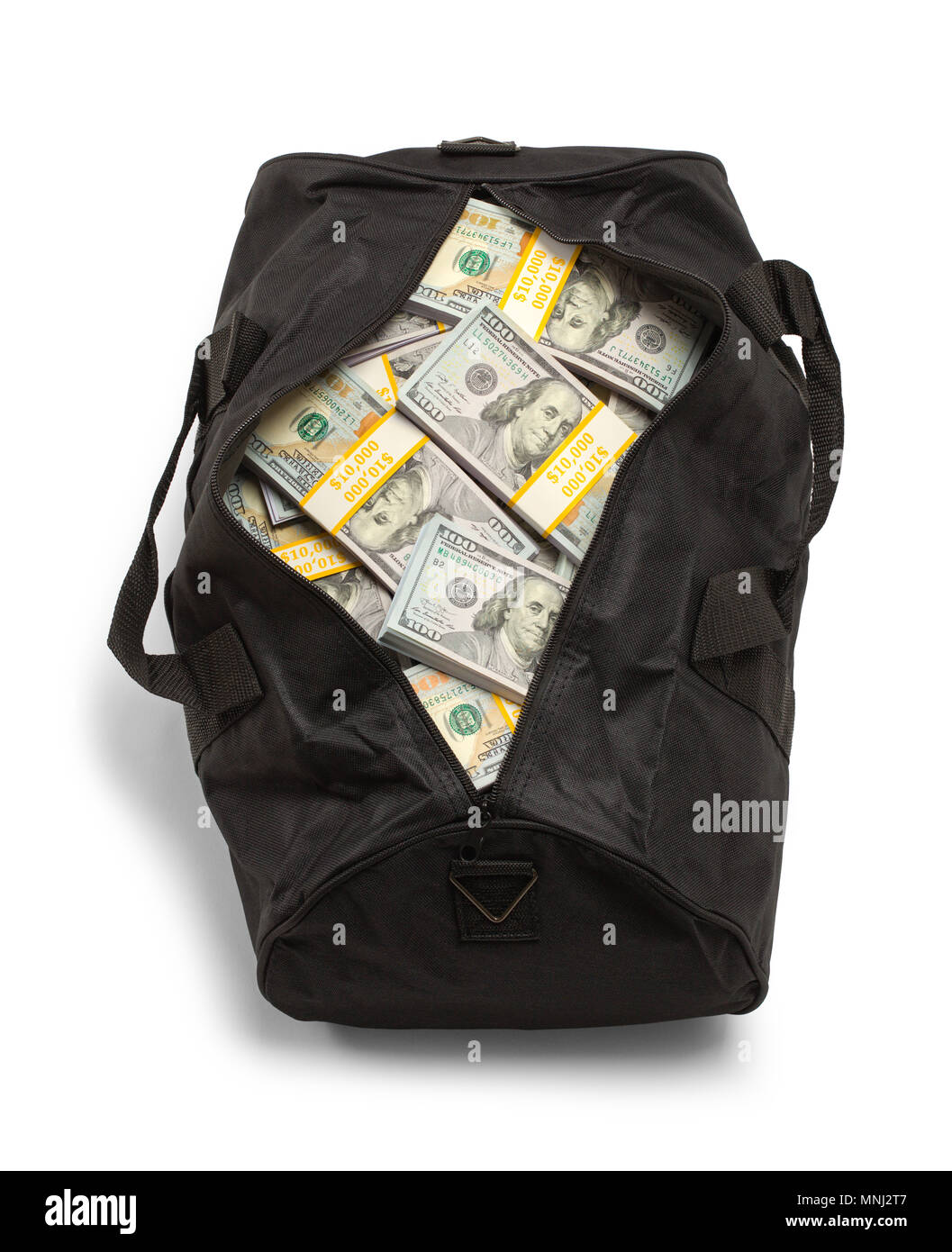 2f84e3bb0e Black Duffel Bag Full of Money Isolated on a White Background. - Stock Image