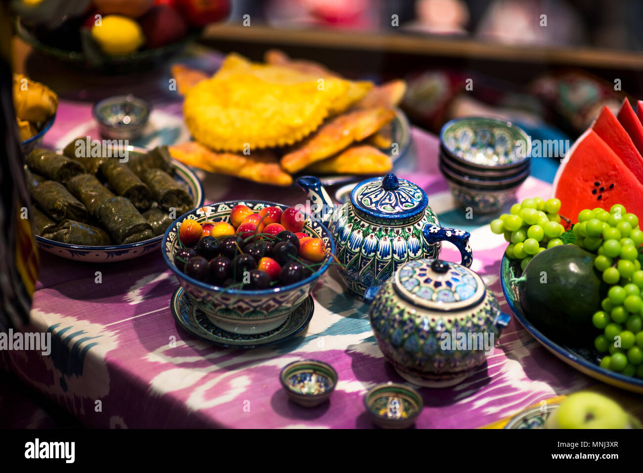 Home tableware in Russian traditional Gzhel style. Closeup. Gzhel - Russian folk craft of ceramics and production porcelain and a kind of Russian folk & Home tableware in Russian traditional Gzhel style. Closeup. Gzhel ...