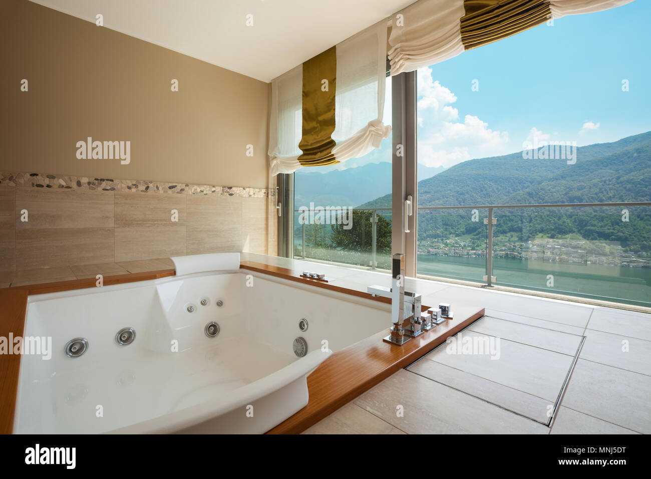 Jacuzzi Interior.Interior Of Luxury Apartment Furnished Comfortable Bathroom