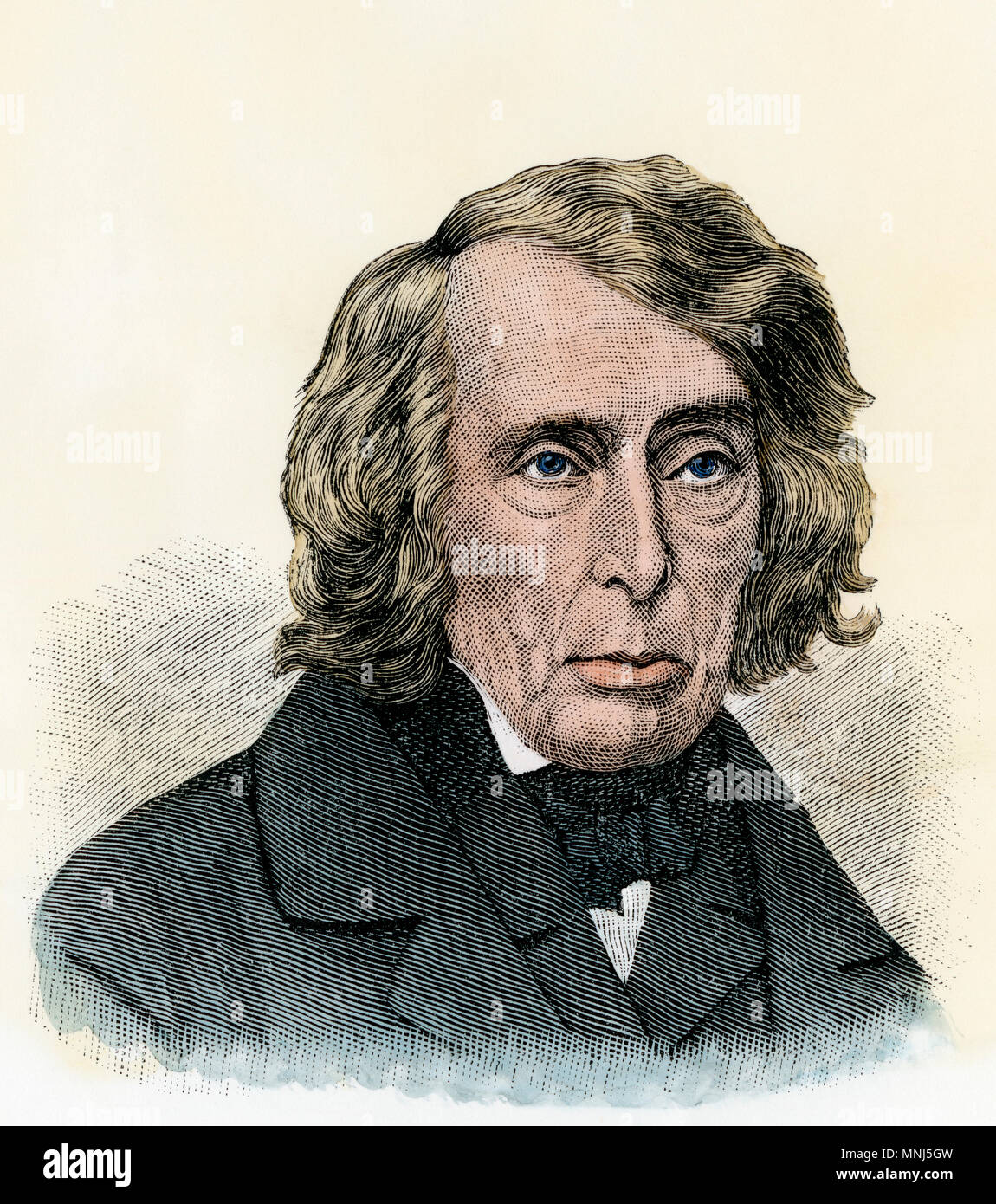 Chief Justice Roger B. Taney. Hand-colored engraving Stock Photo