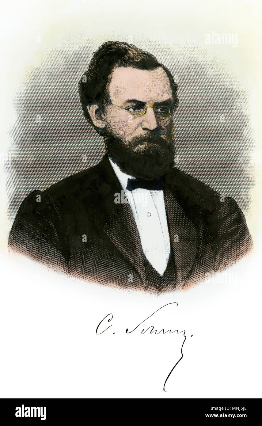 Carl Schurz, with autograph. Hand-colored steel engraving - Stock Image