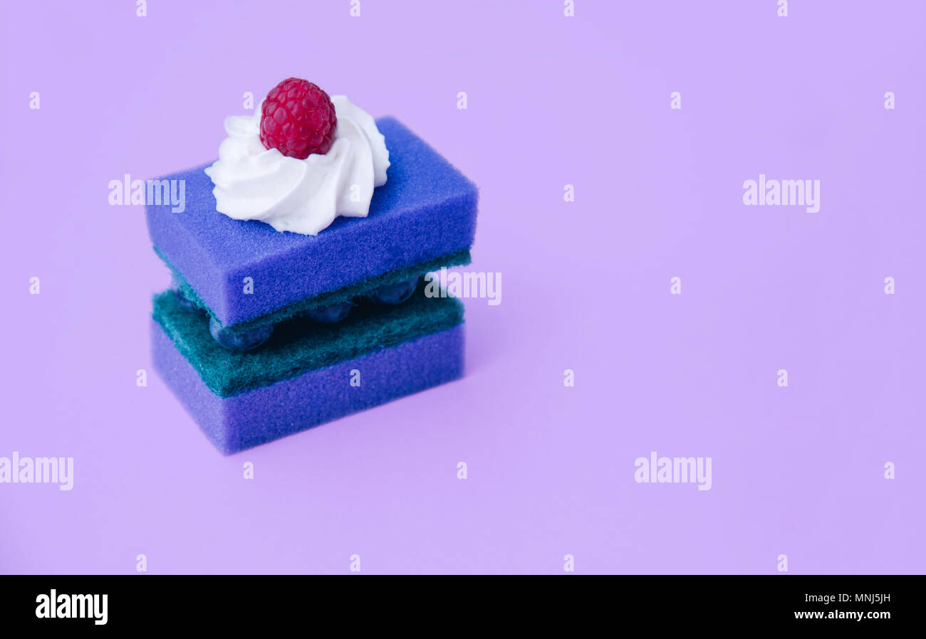 Fantastic Two Cleaning Sponges As A Birthday Cake Creative Minimal Design Funny Birthday Cards Online Inifofree Goldxyz