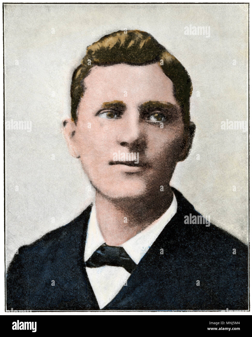 Leon Czolgosz, assassin of President William McKinley in 1901. Hand-colored halftone of a photograph - Stock Image