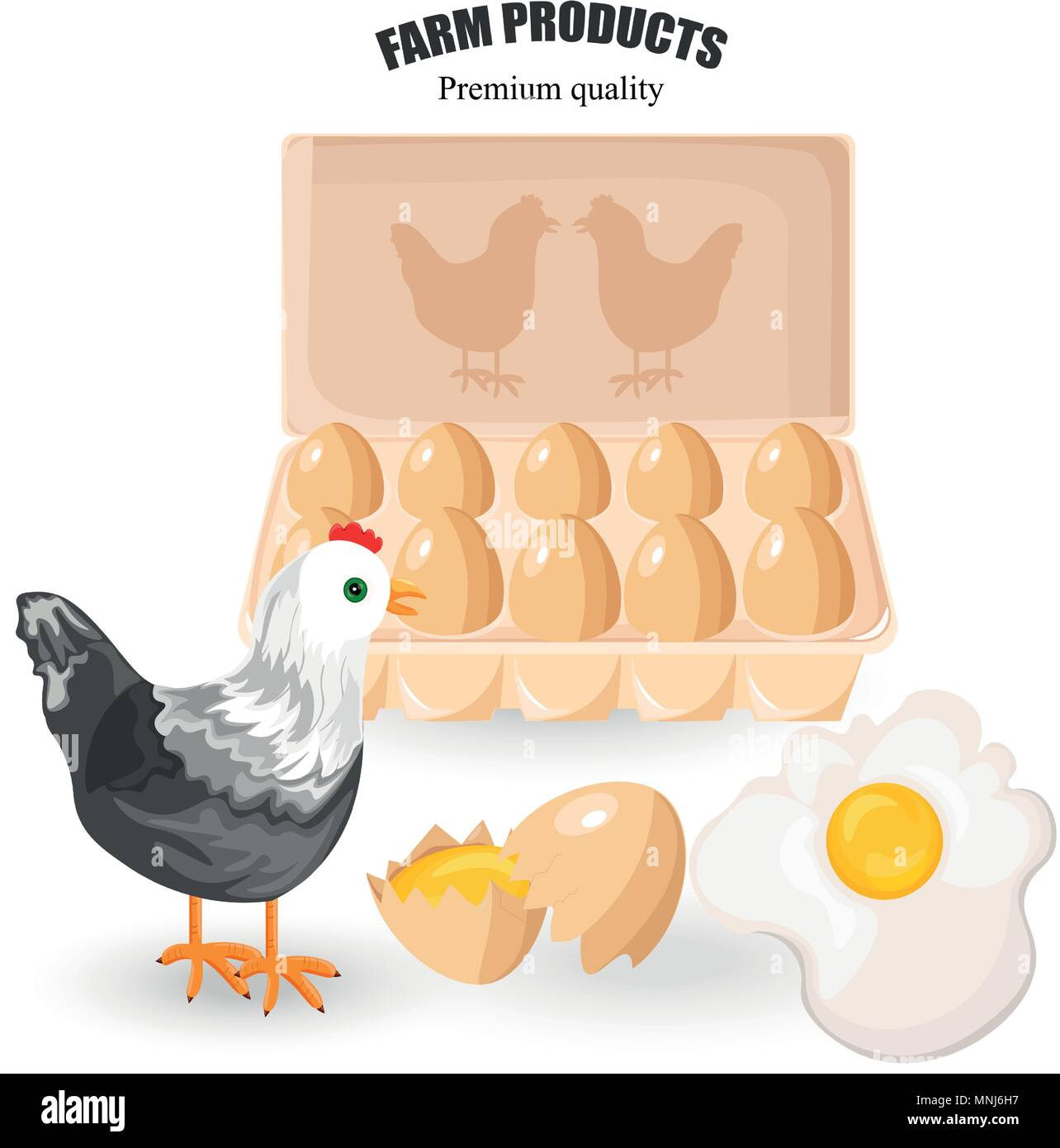 Free range eggs Vector. Bunch of eggs and chicken. Eco farm products - Stock Vector