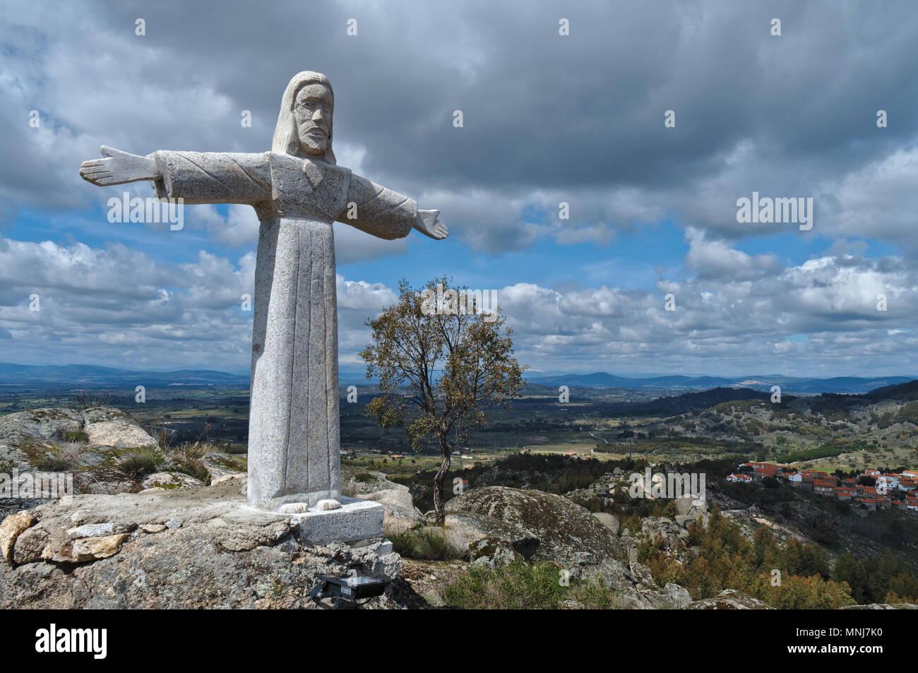 Christ Statue in Monsanto Mountains. Castelo Branco, Portugal Stock Photo
